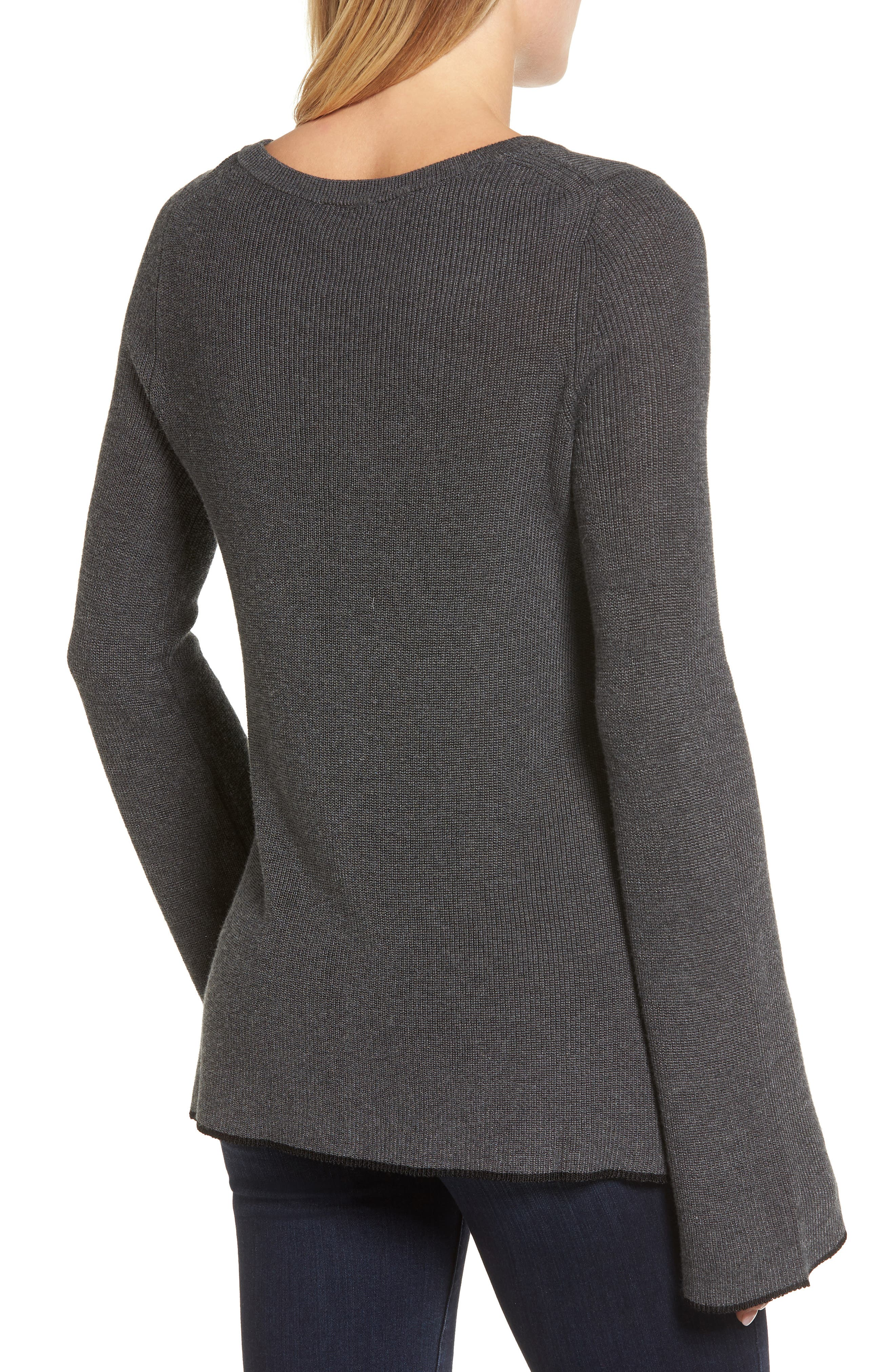Alternate Image 2  - Vince Camuto Tipped Bell Sleeve Sweater (Regular & Petite)