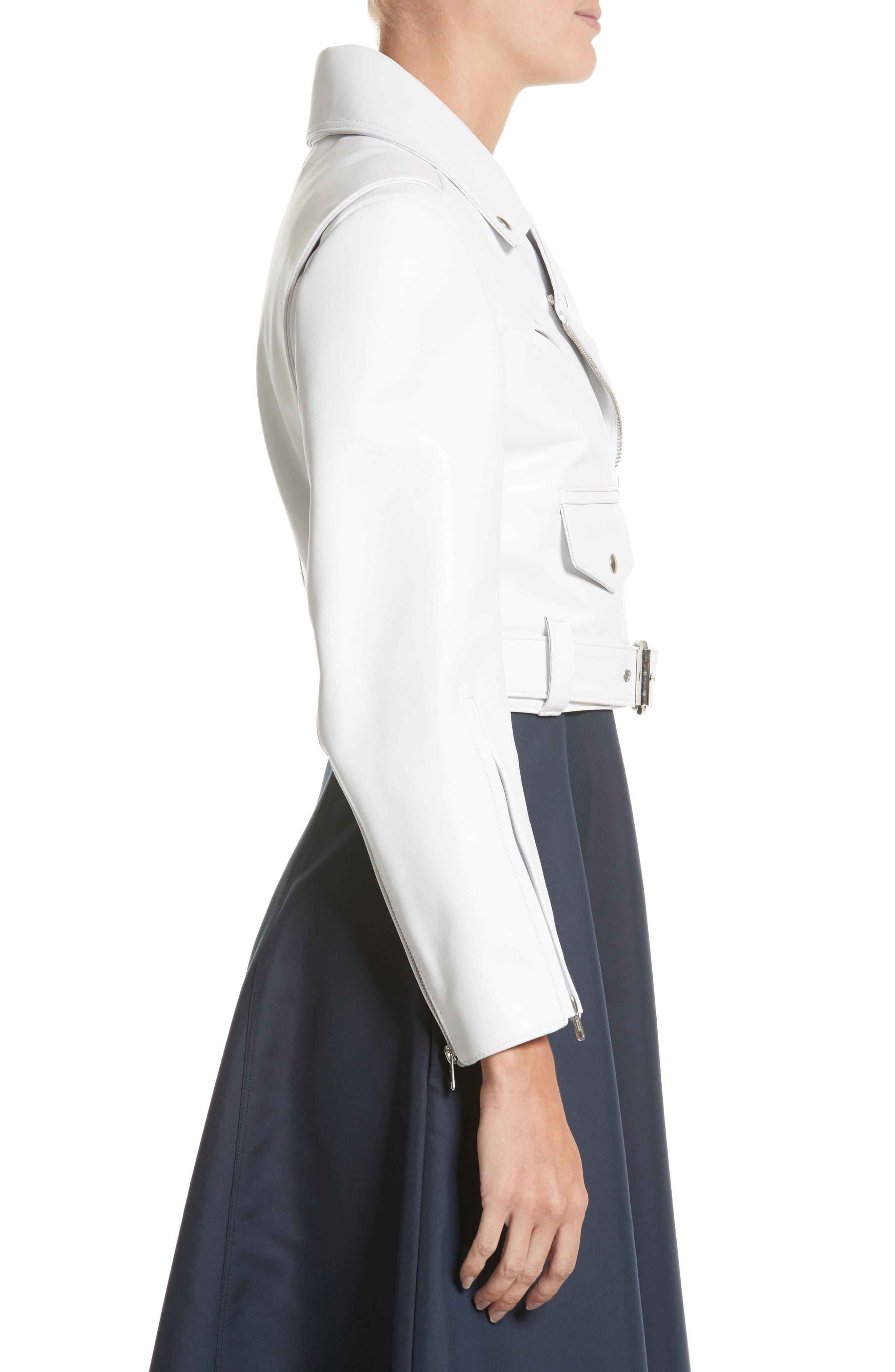 Plongé Leather Crop Moto Jacket,                             Alternate thumbnail 3, color,                             White