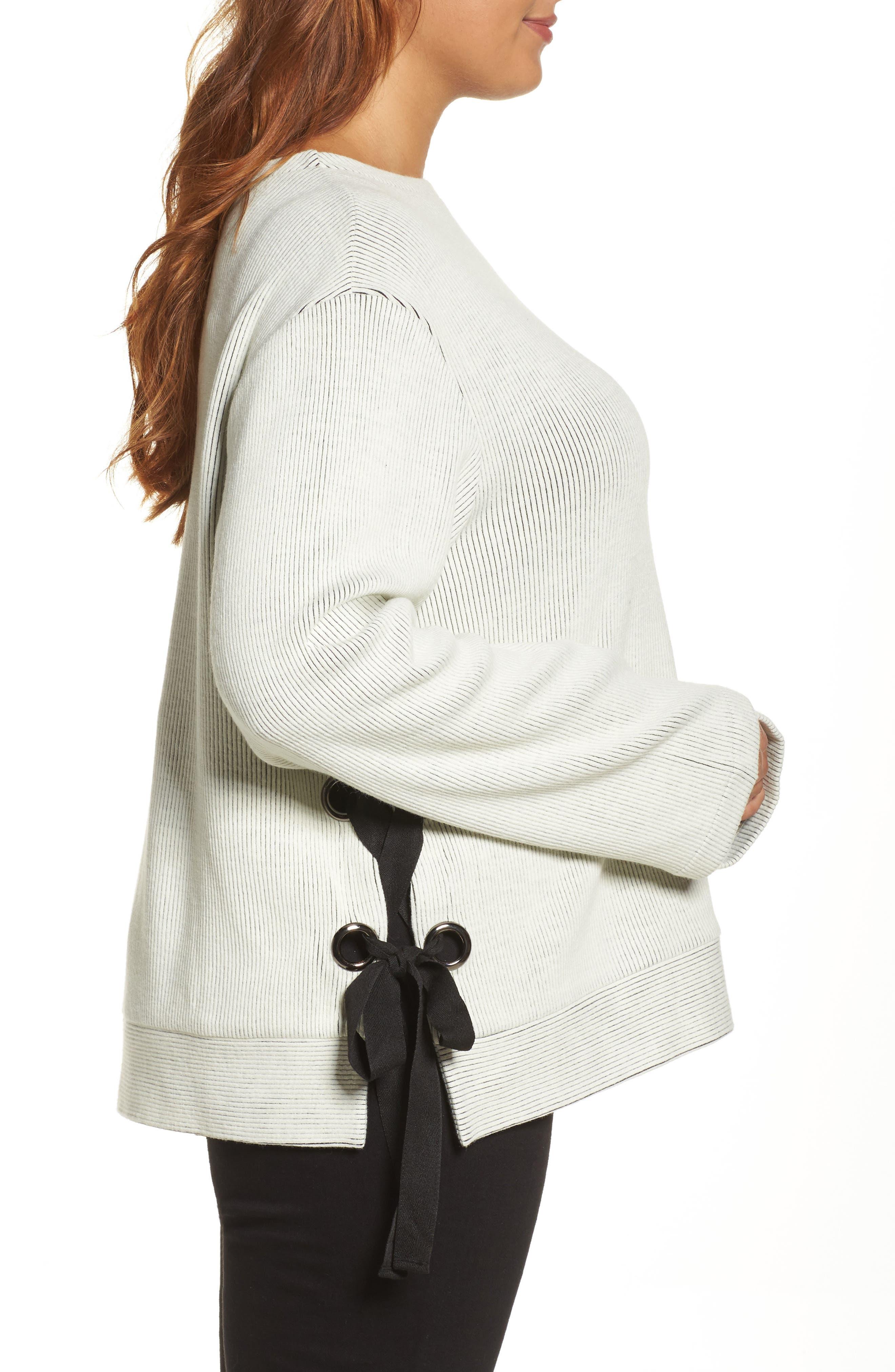 Alternate Image 3  - ELVI Ribbed Eyelet Sweater (Plus Size)