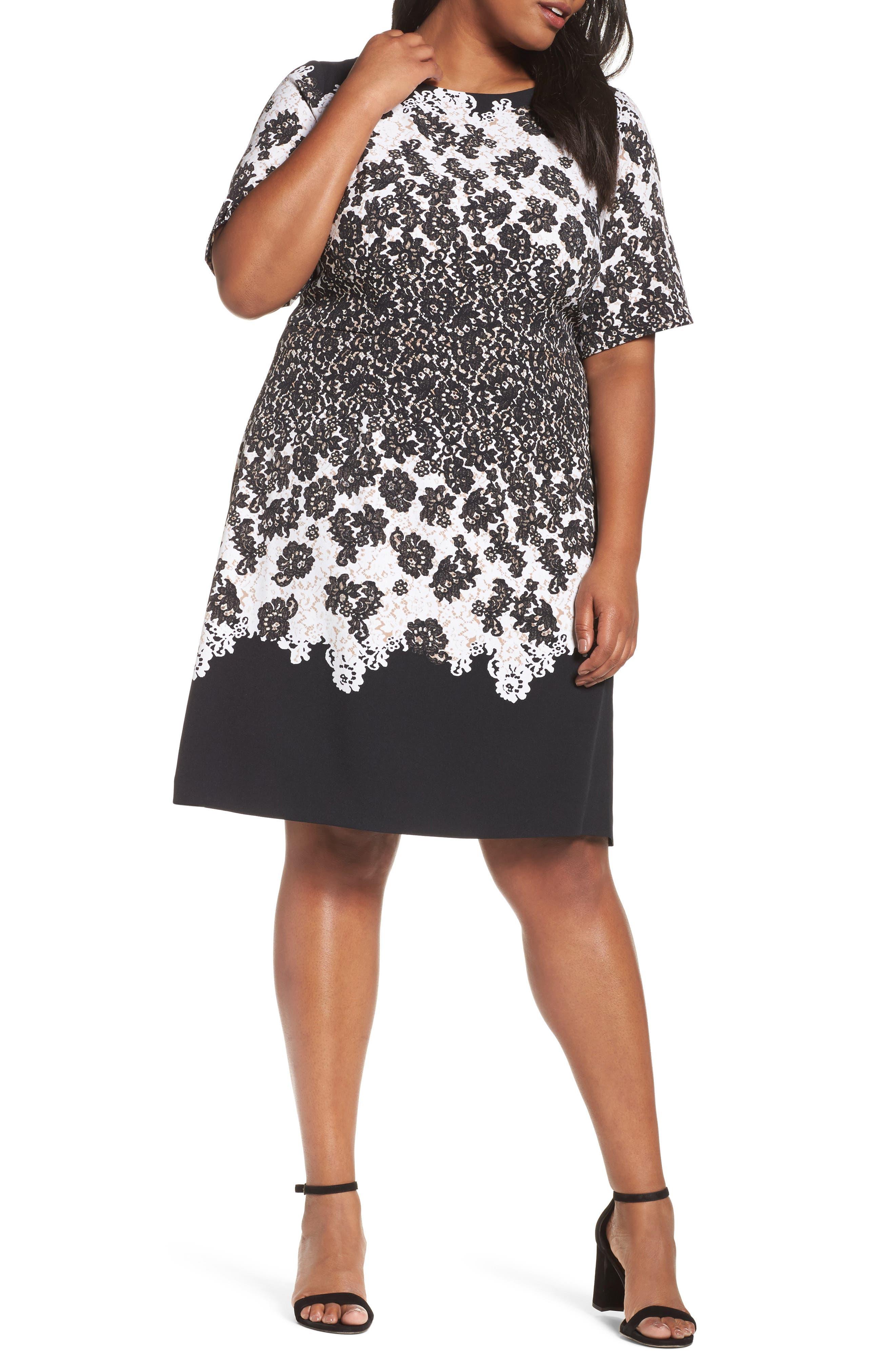 Lace Print Fit & Flare Dress,                         Main,                         color, Black Multi