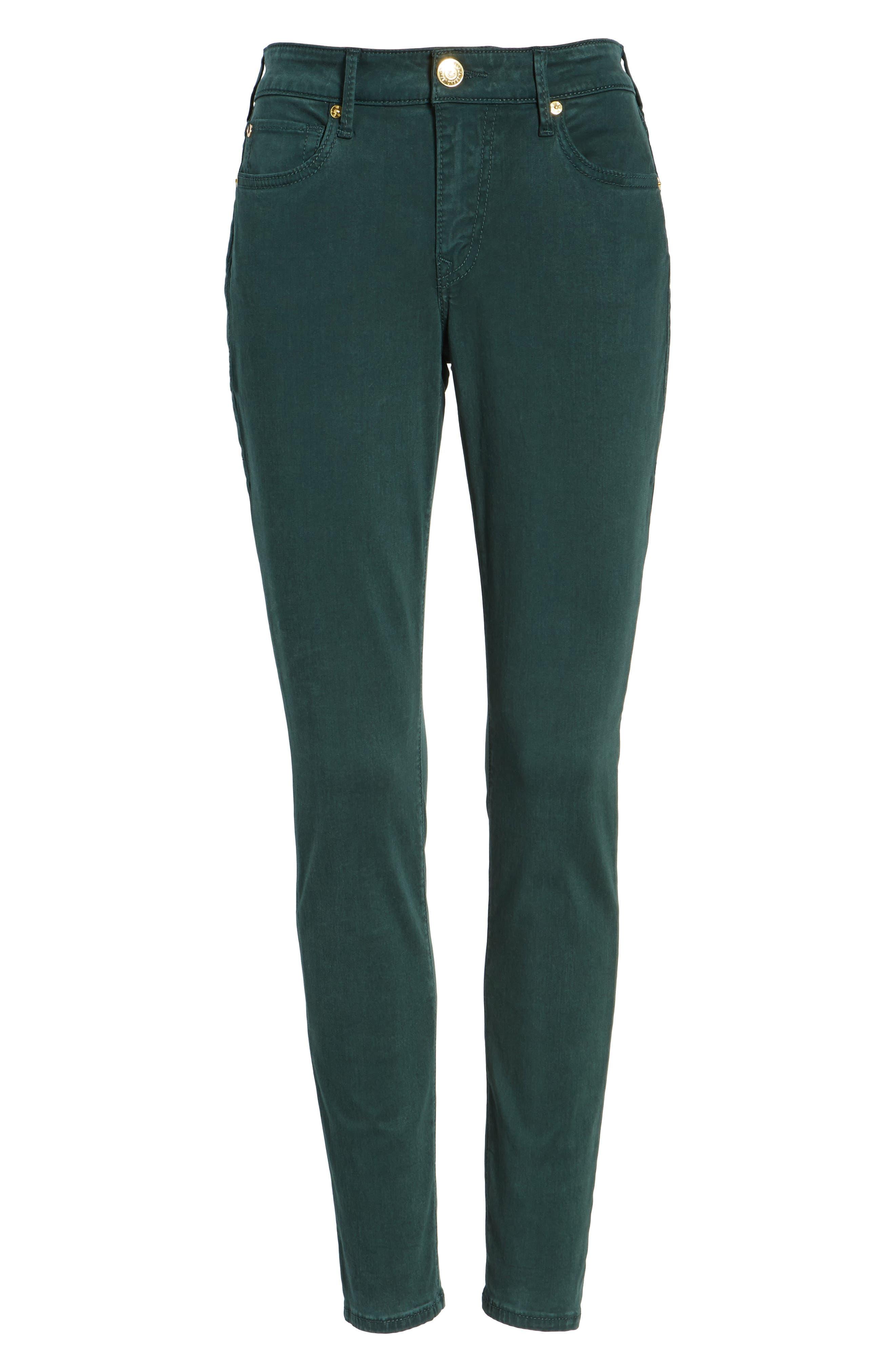 Jennie Curvy Skinny Jeans,                             Alternate thumbnail 7, color,                             Hunter Green