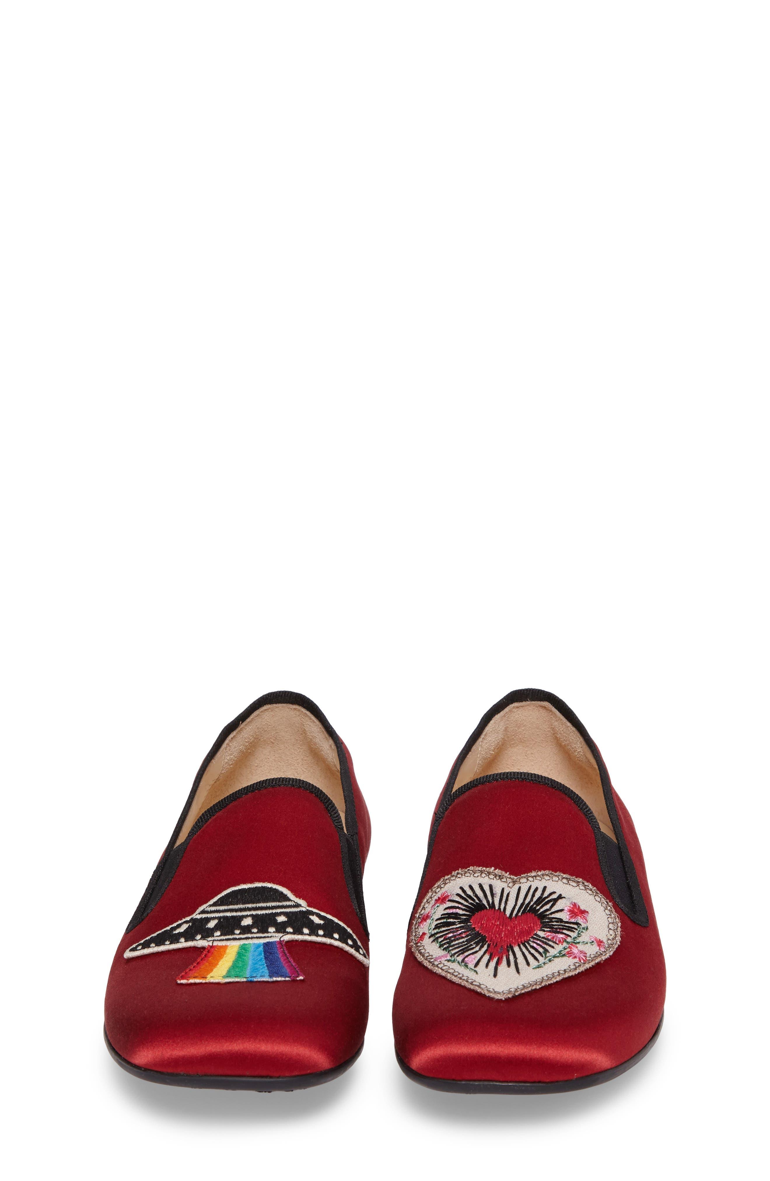Nannie Appliqué Loafer Flat,                             Alternate thumbnail 4, color,                             Red