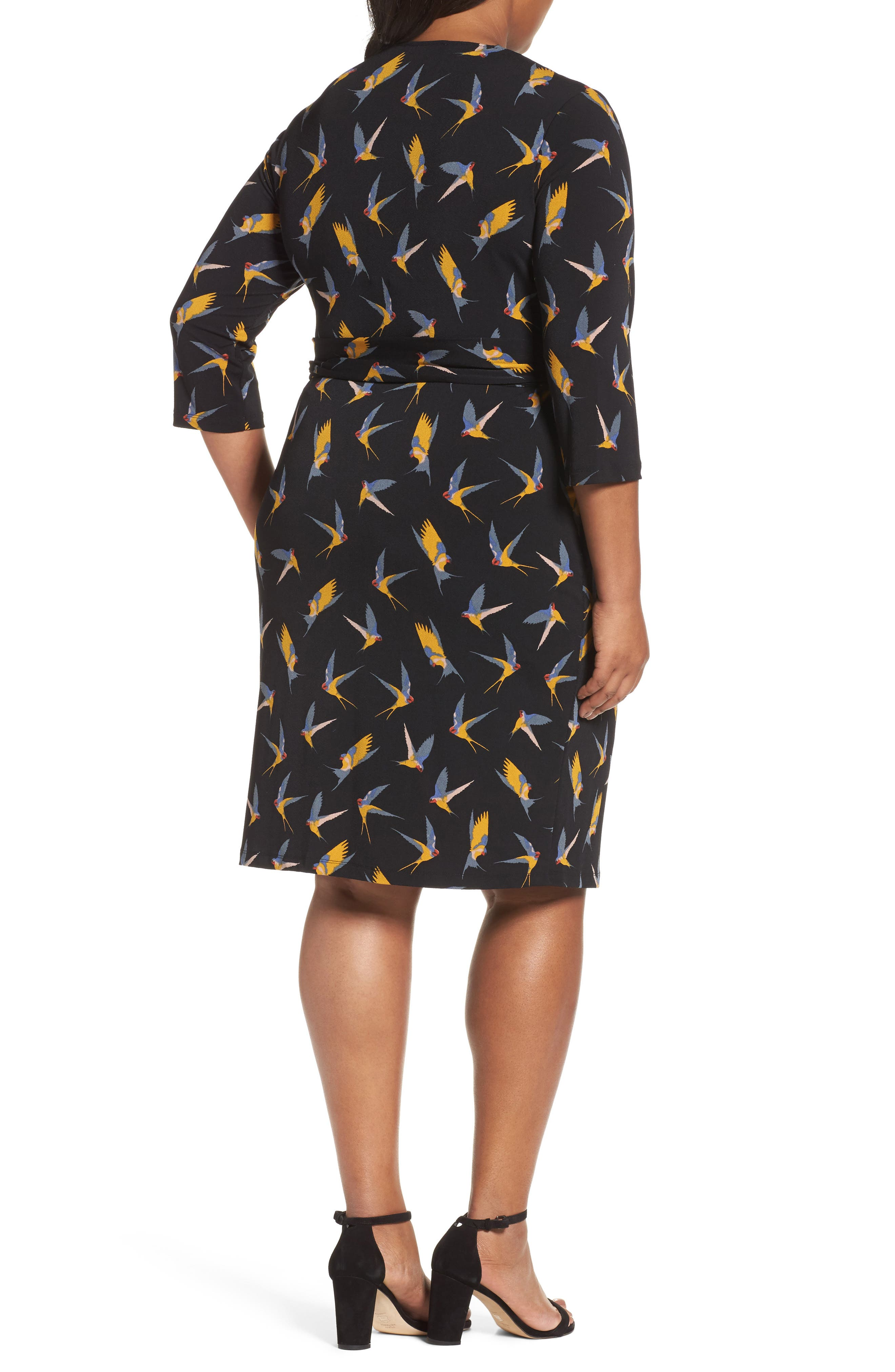 Print Wrap Dress,                             Alternate thumbnail 2, color,                             Gold Multi