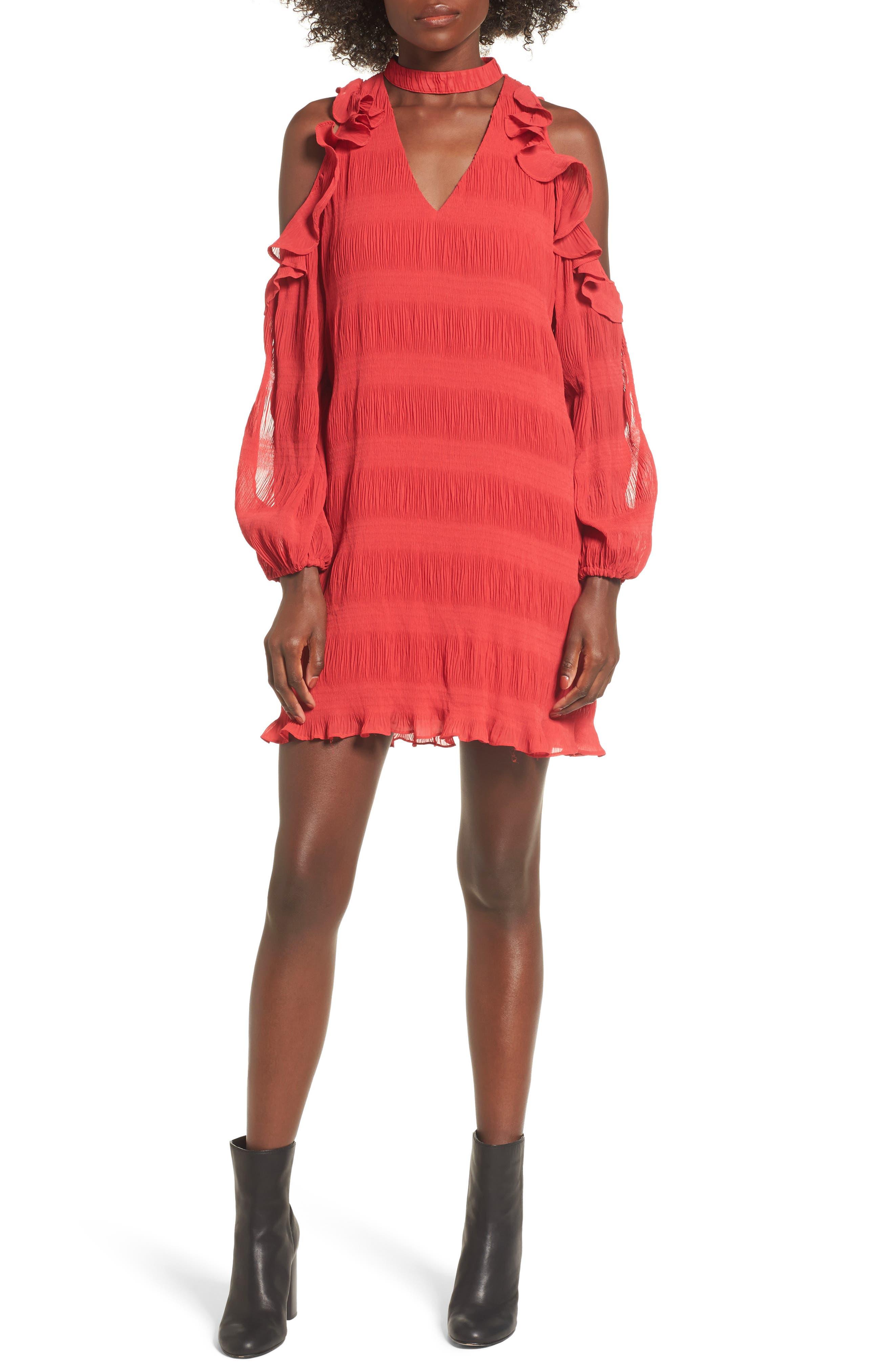 Hallie Cold Shoulder Dress,                             Main thumbnail 1, color,                             Dragon