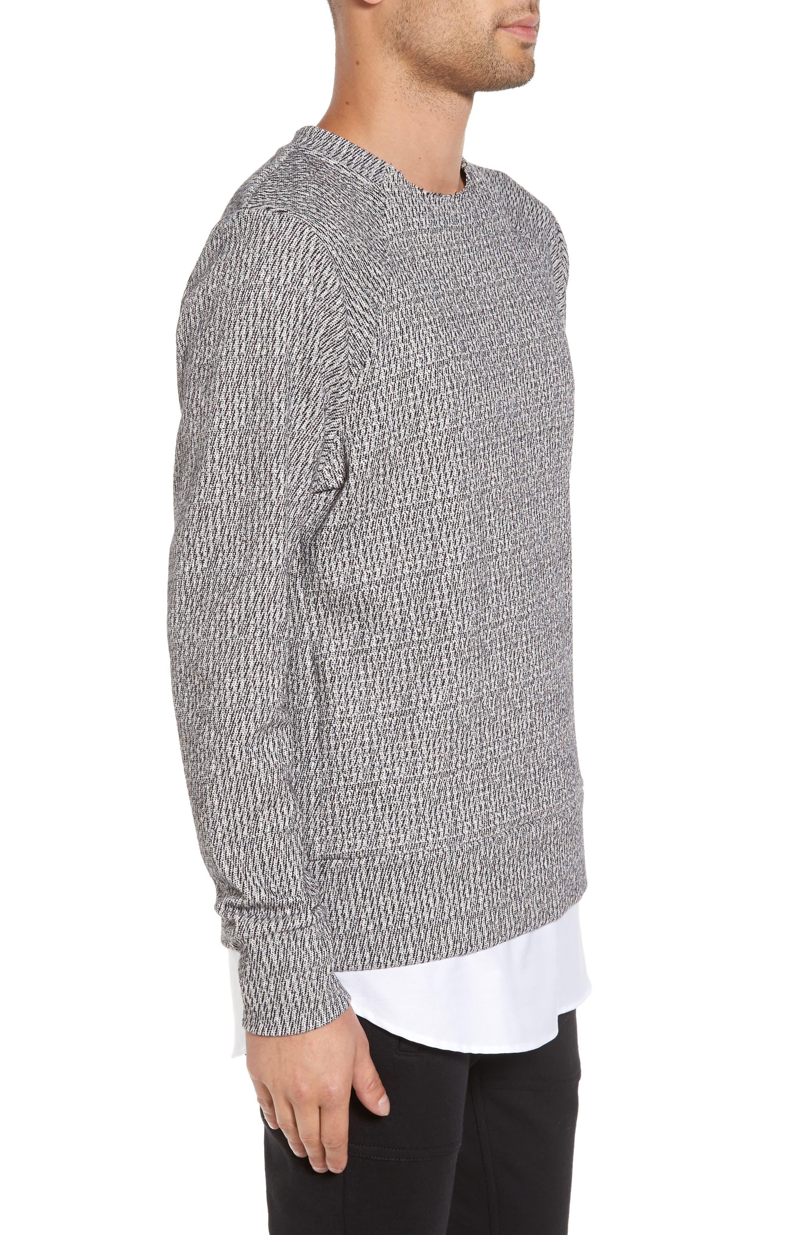 Double Layer Crewneck Sweater,                             Alternate thumbnail 3, color,                             Scour