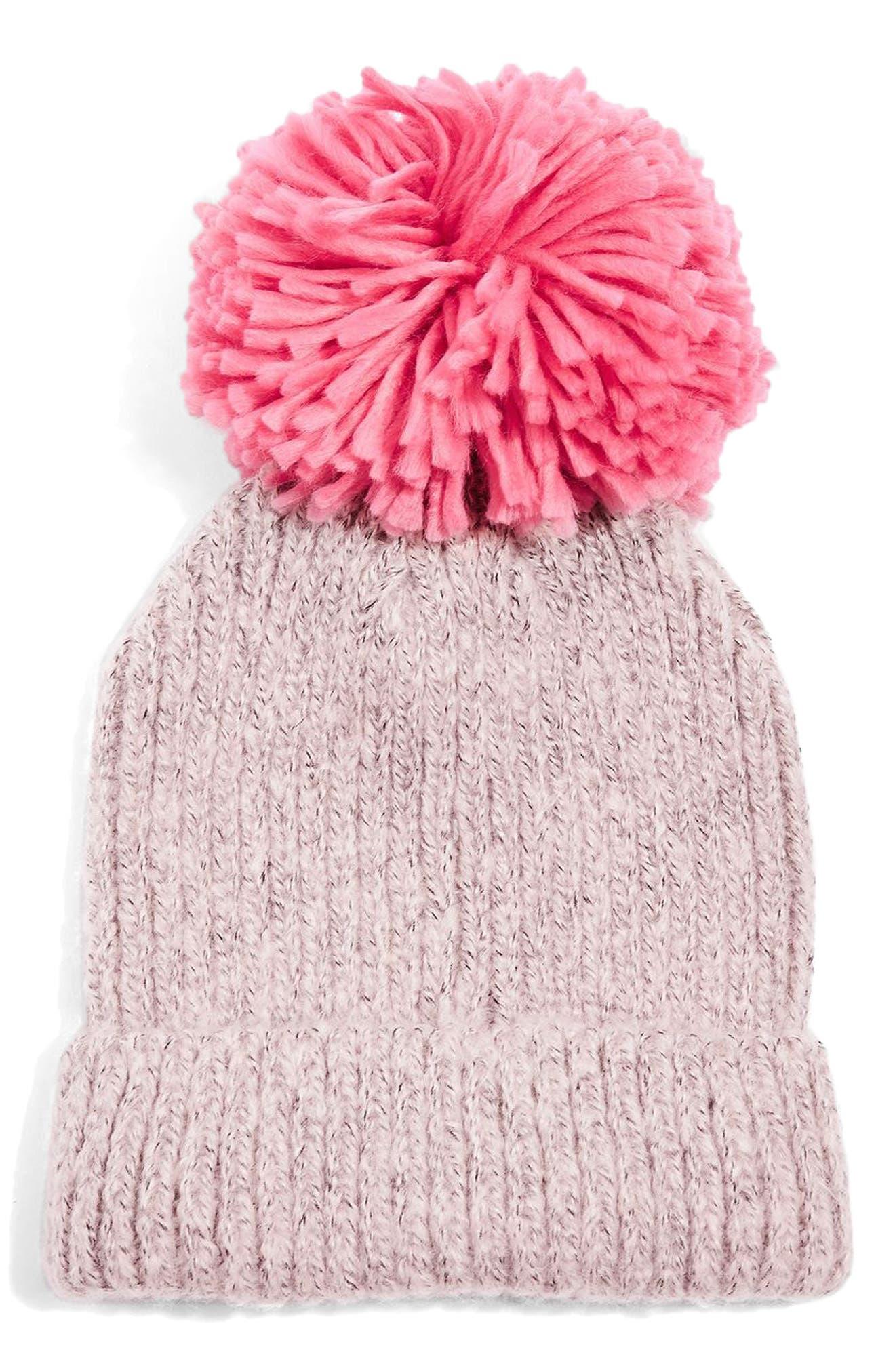 Pompom Beanie,                         Main,                         color, Pink