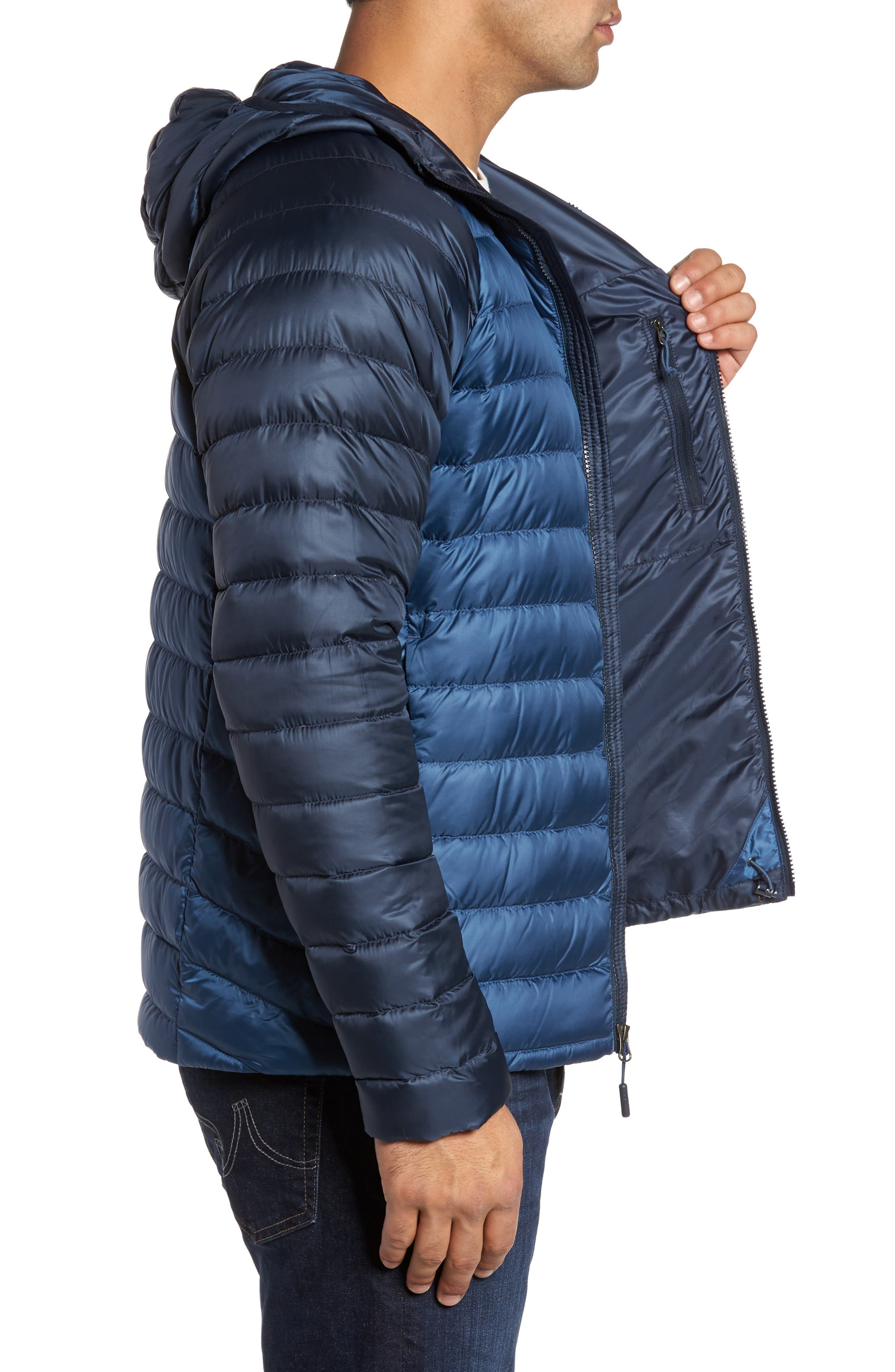 Trevail Water Repellent Packable 800-Fill-Power Down Hooded Jacket,                             Alternate thumbnail 3, color,                             Shady Blue/ Urban Navy
