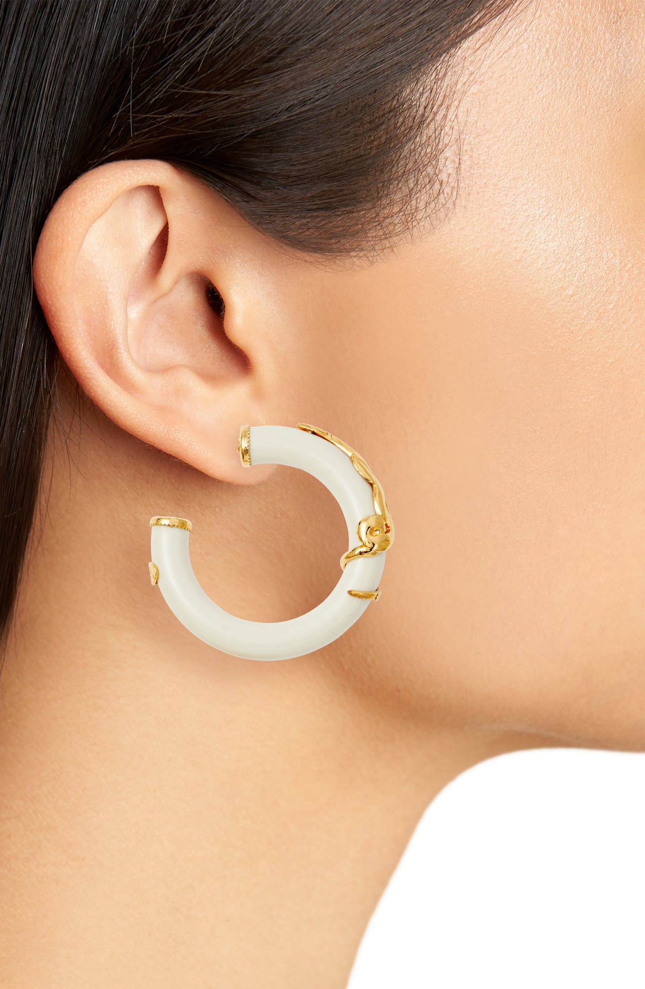 Cobra Hoop Earrings,                             Alternate thumbnail 2, color,                             White/ Gold
