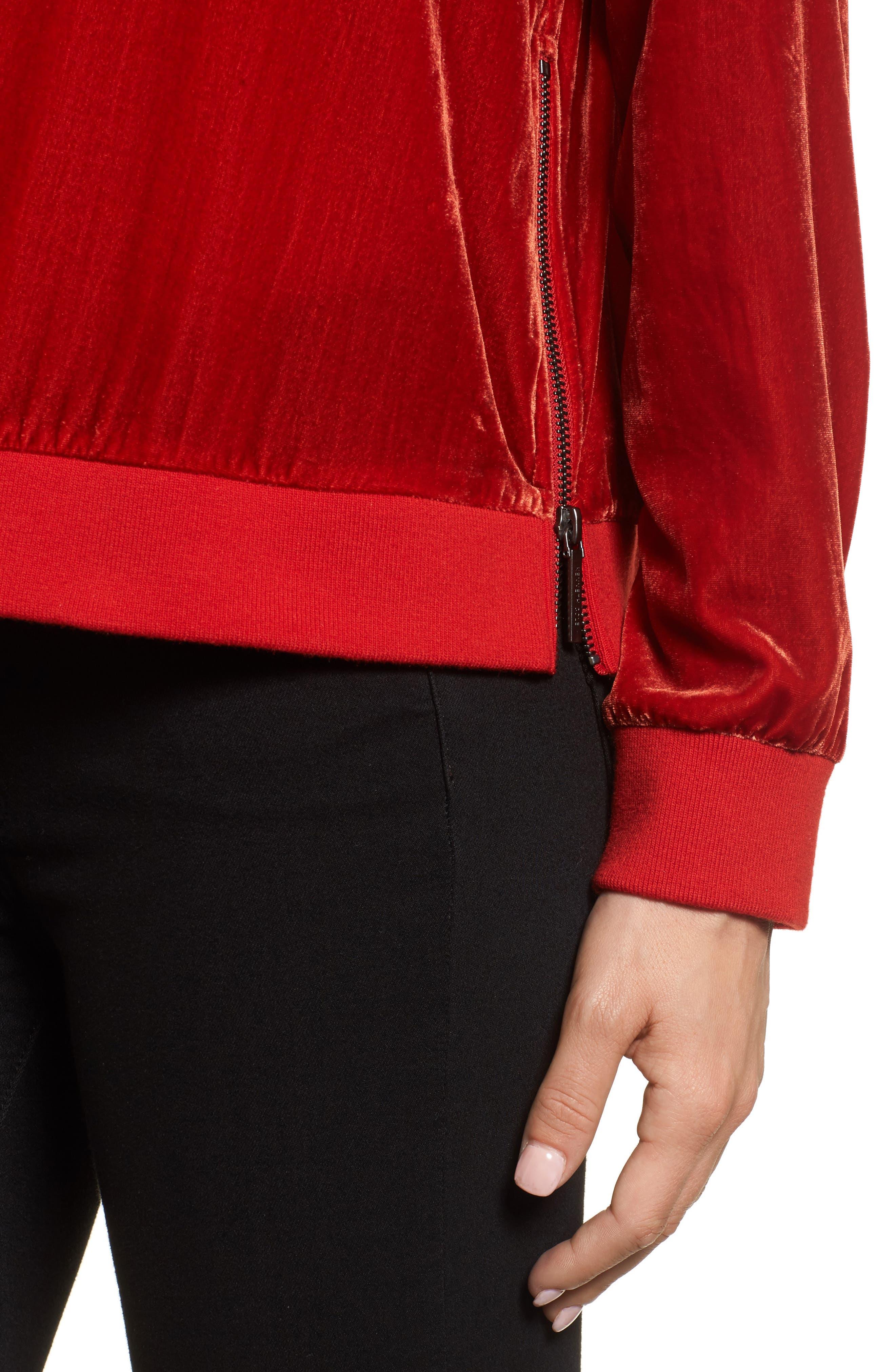 Alternate Image 4  - Kenneth Cole New York Zipper Velvet Sweatshirt