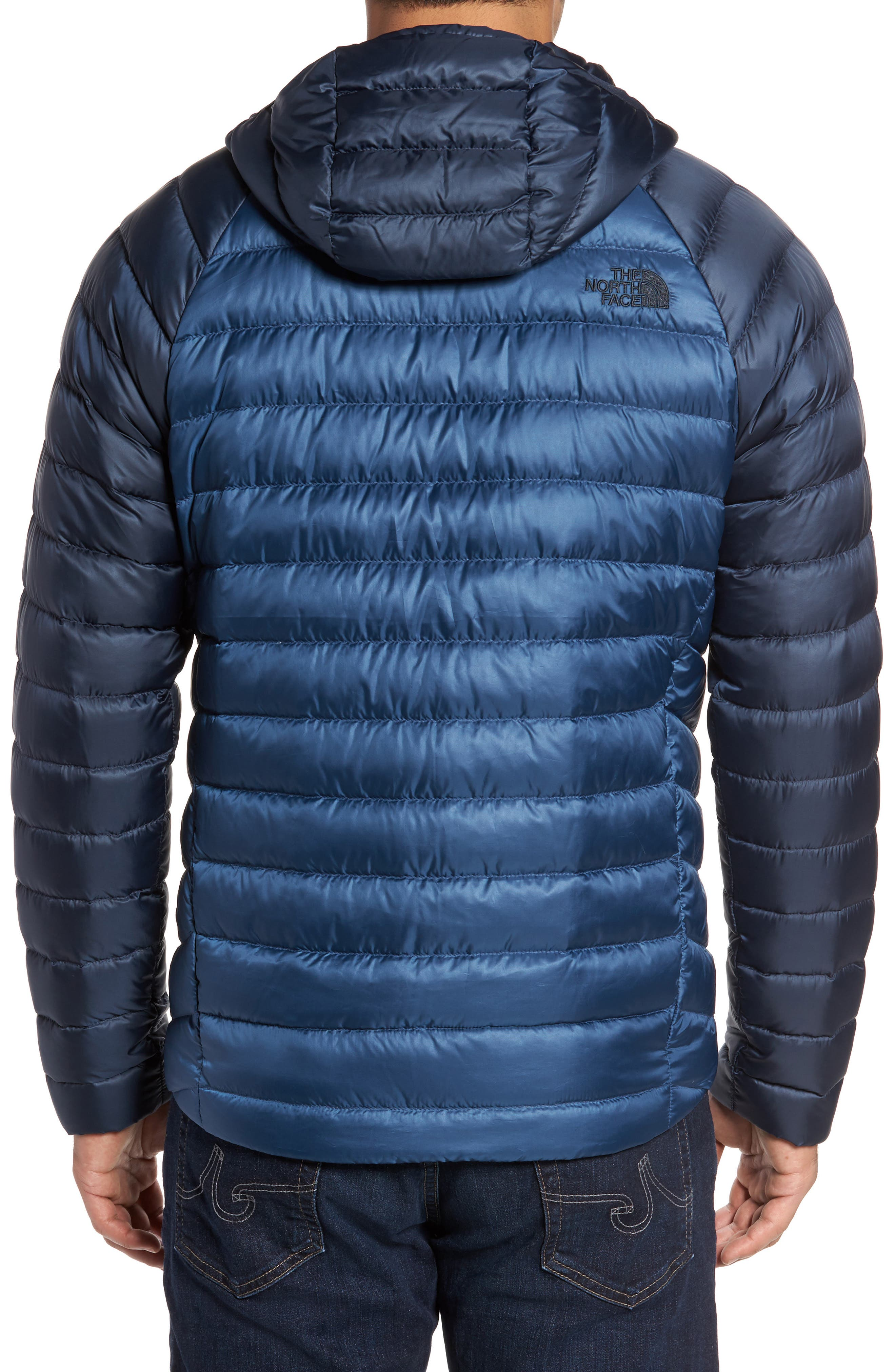 Trevail Water Repellent Packable 800-Fill-Power Down Hooded Jacket,                             Alternate thumbnail 2, color,                             Shady Blue/ Urban Navy