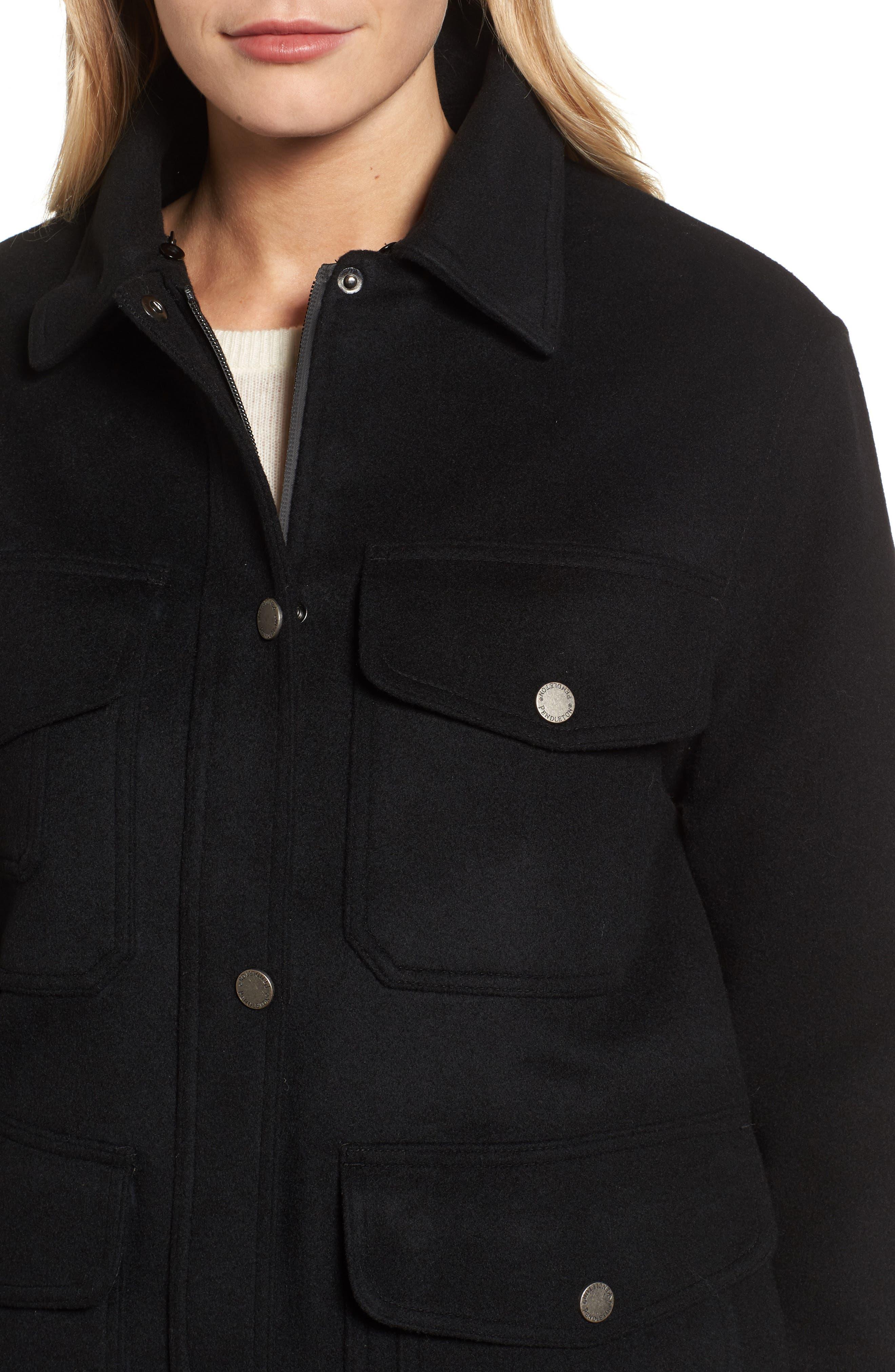 Manchester Waterproof Field Coat,                             Alternate thumbnail 4, color,                             Black