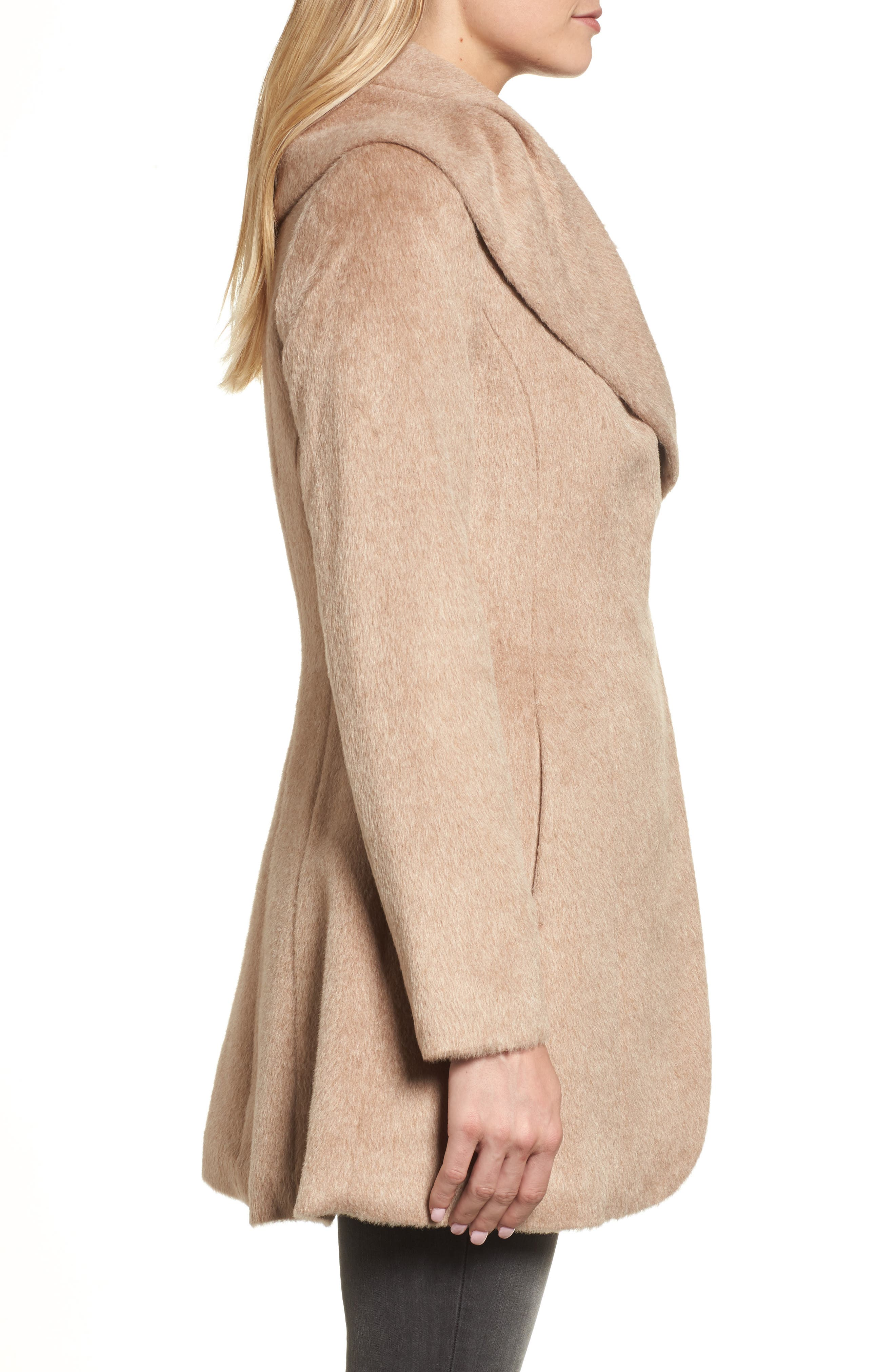 Jemma Shawl Collar Coat,                             Alternate thumbnail 3, color,                             Fawn