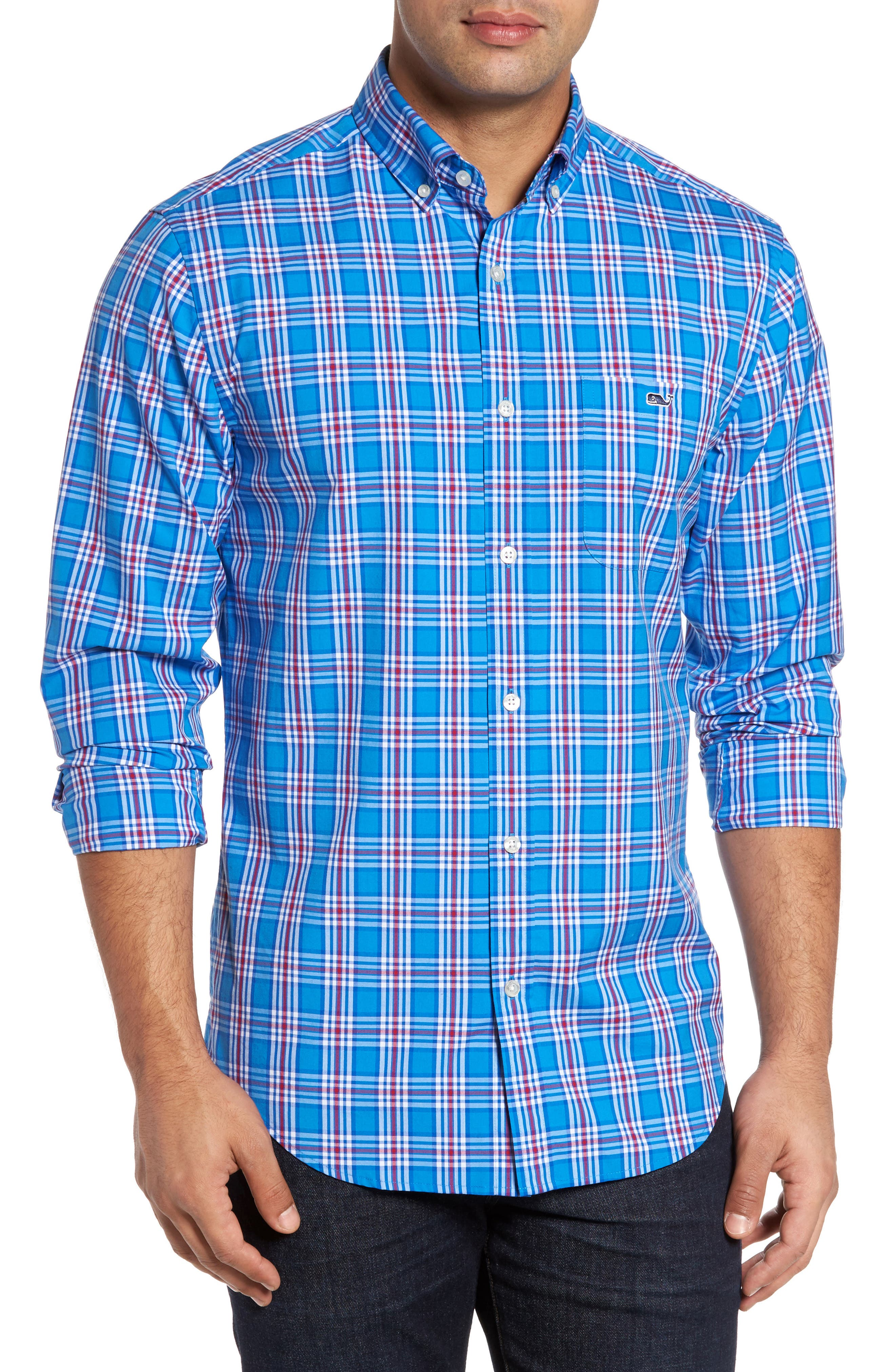 Tucker Chandler Pond Classic Fit Plaid Sport Shirt,                         Main,                         color, Hull Blue