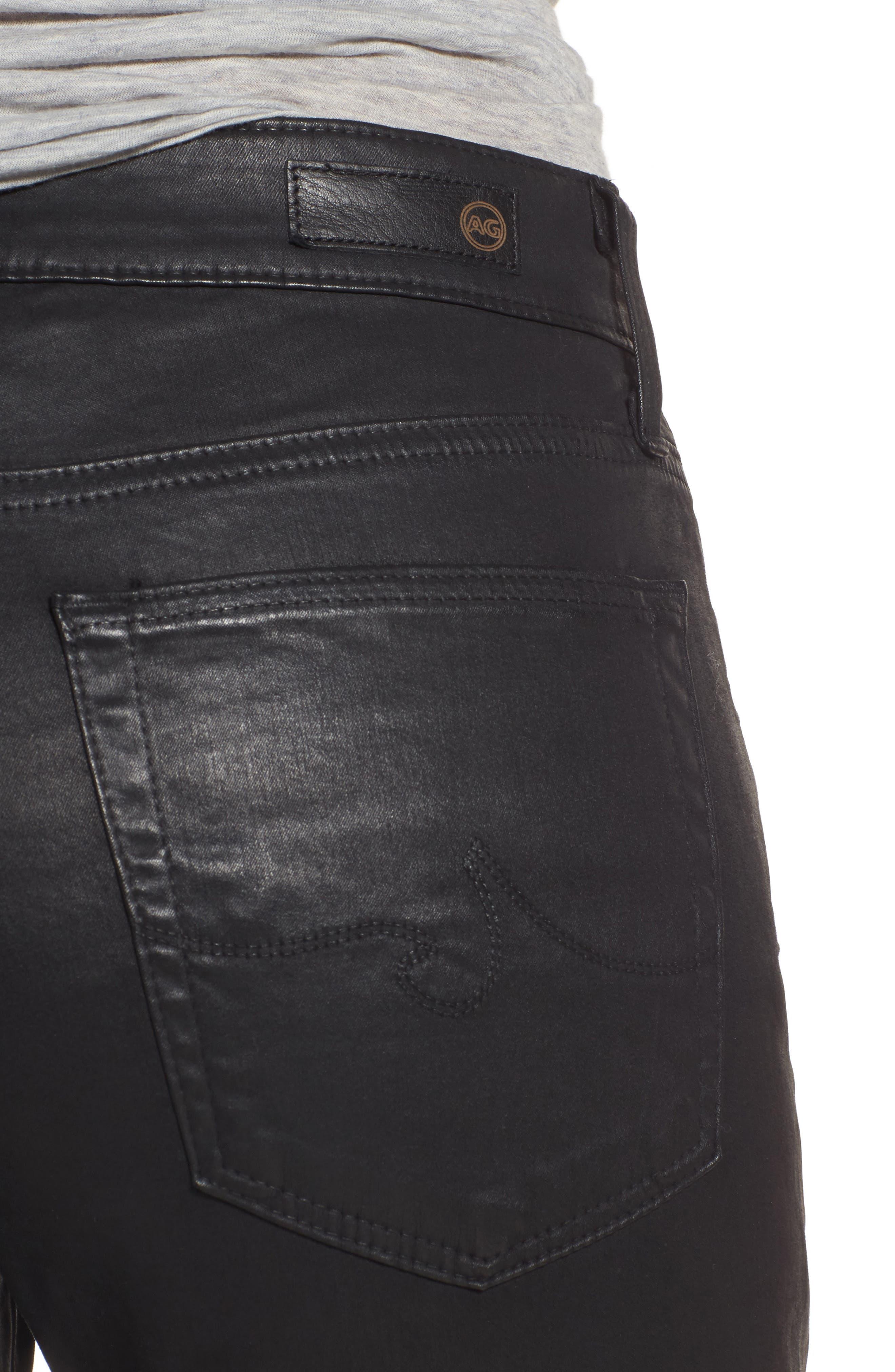 Farrah High Waist Ankle Skinny Jeans,                             Alternate thumbnail 4, color,                             Leatherette Super Black