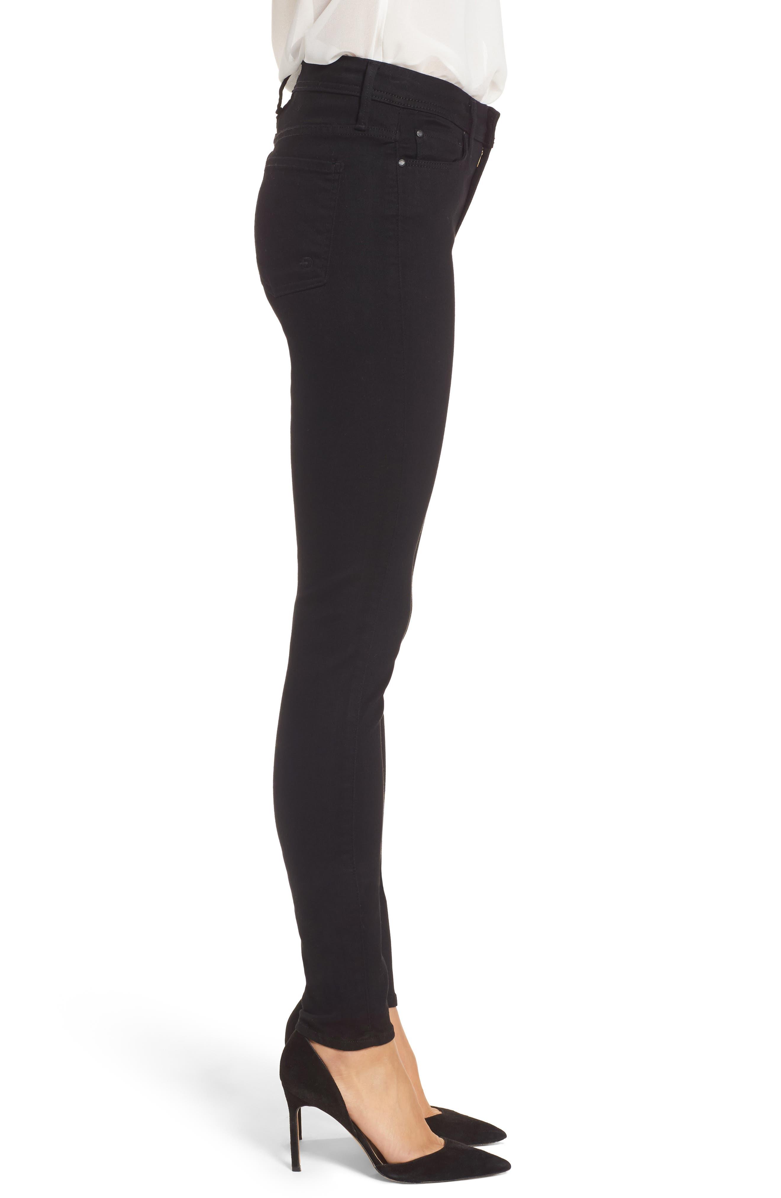 Belvedere Skinny Jeans,                             Alternate thumbnail 3, color,                             Jett Black
