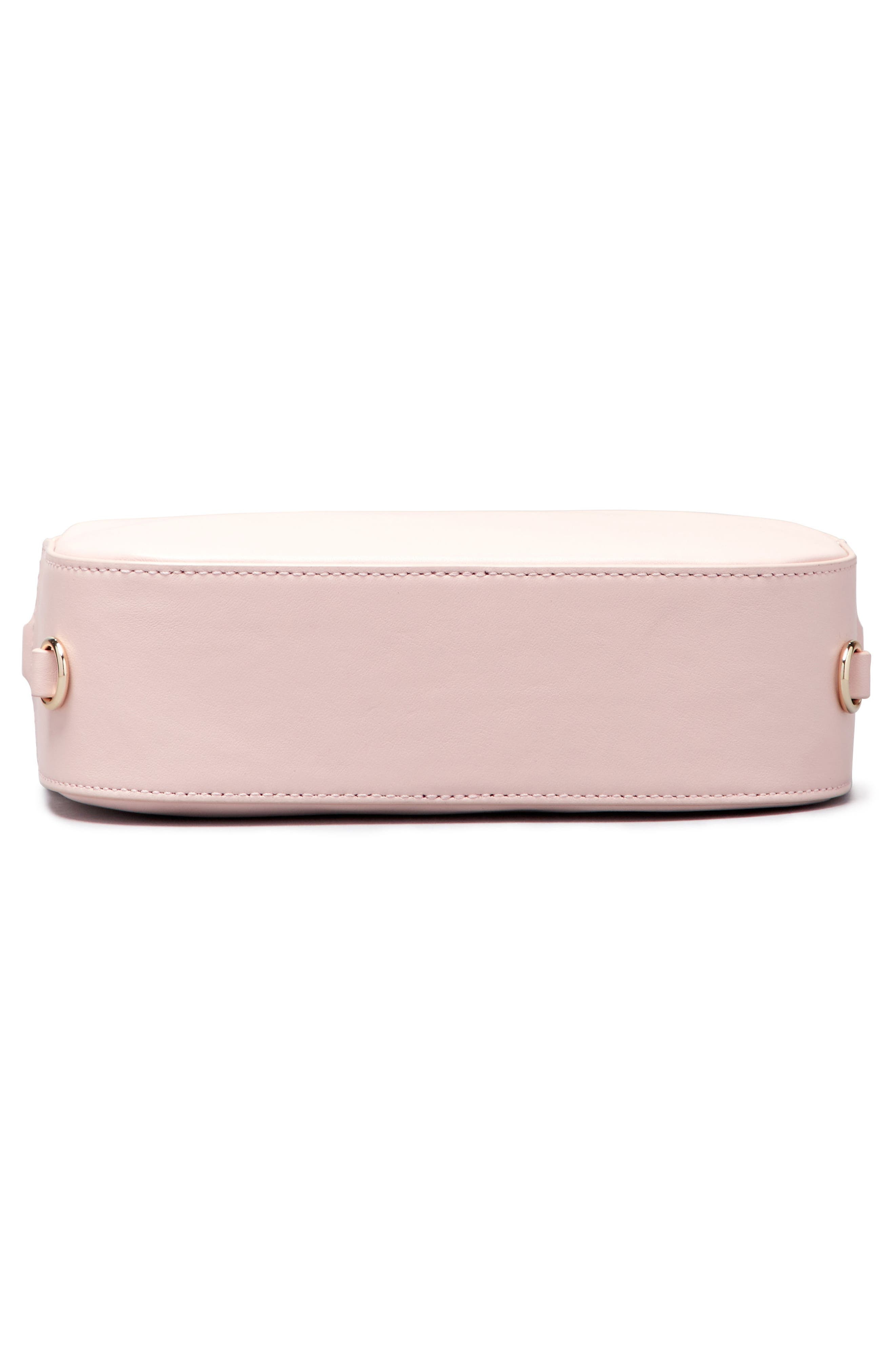 Personalized Leather Camera Bag,                             Alternate thumbnail 6, color,                             Cotton Candy/ White