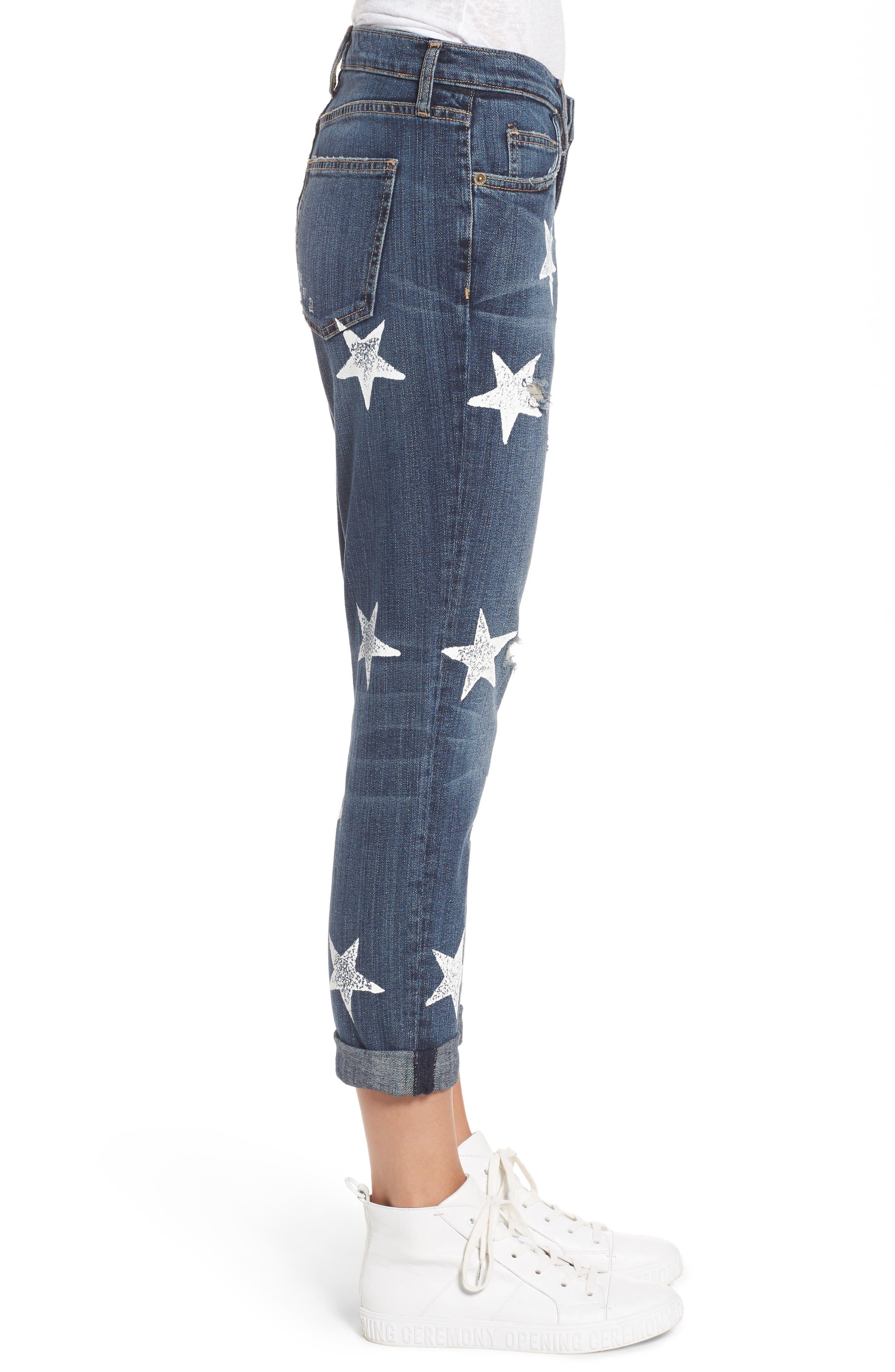 The Fling High Waist Boyfriend Jeans,                             Alternate thumbnail 3, color,                             Loved Destroy/ White Stars