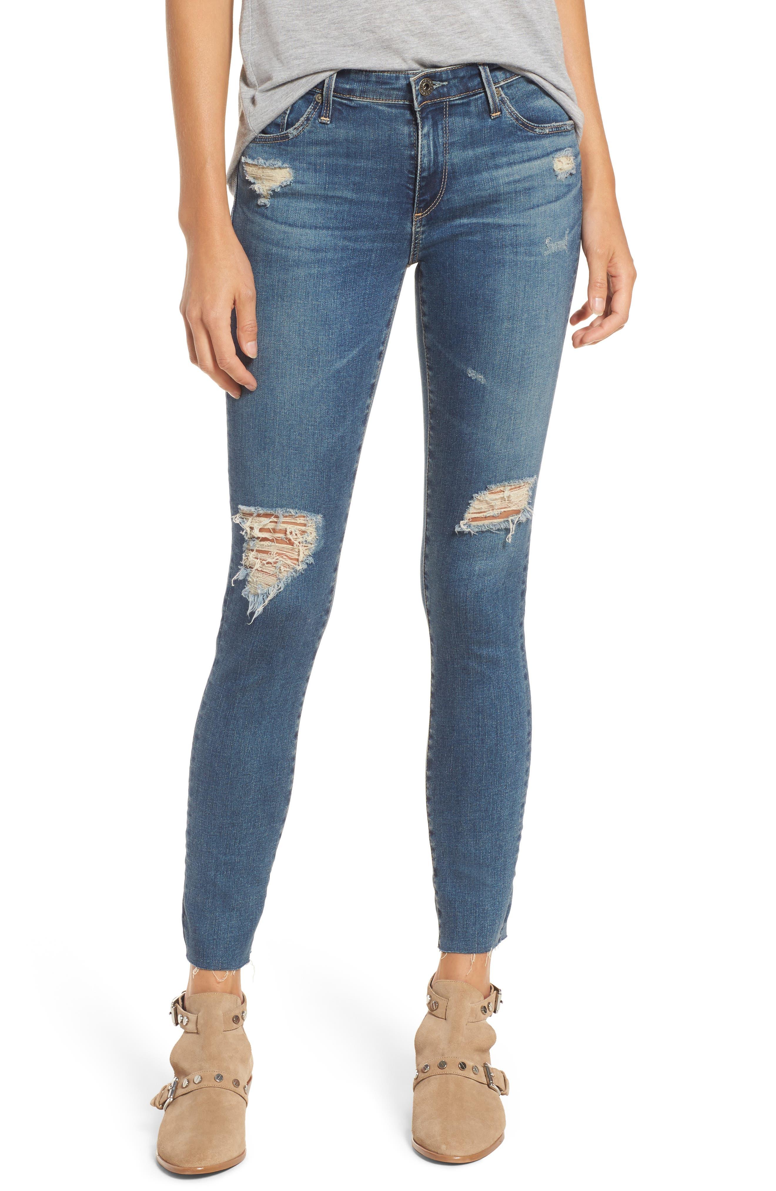 The Legging Ankle Super Skinny Jeans,                             Main thumbnail 1, color,                             Serendipitous Destructed