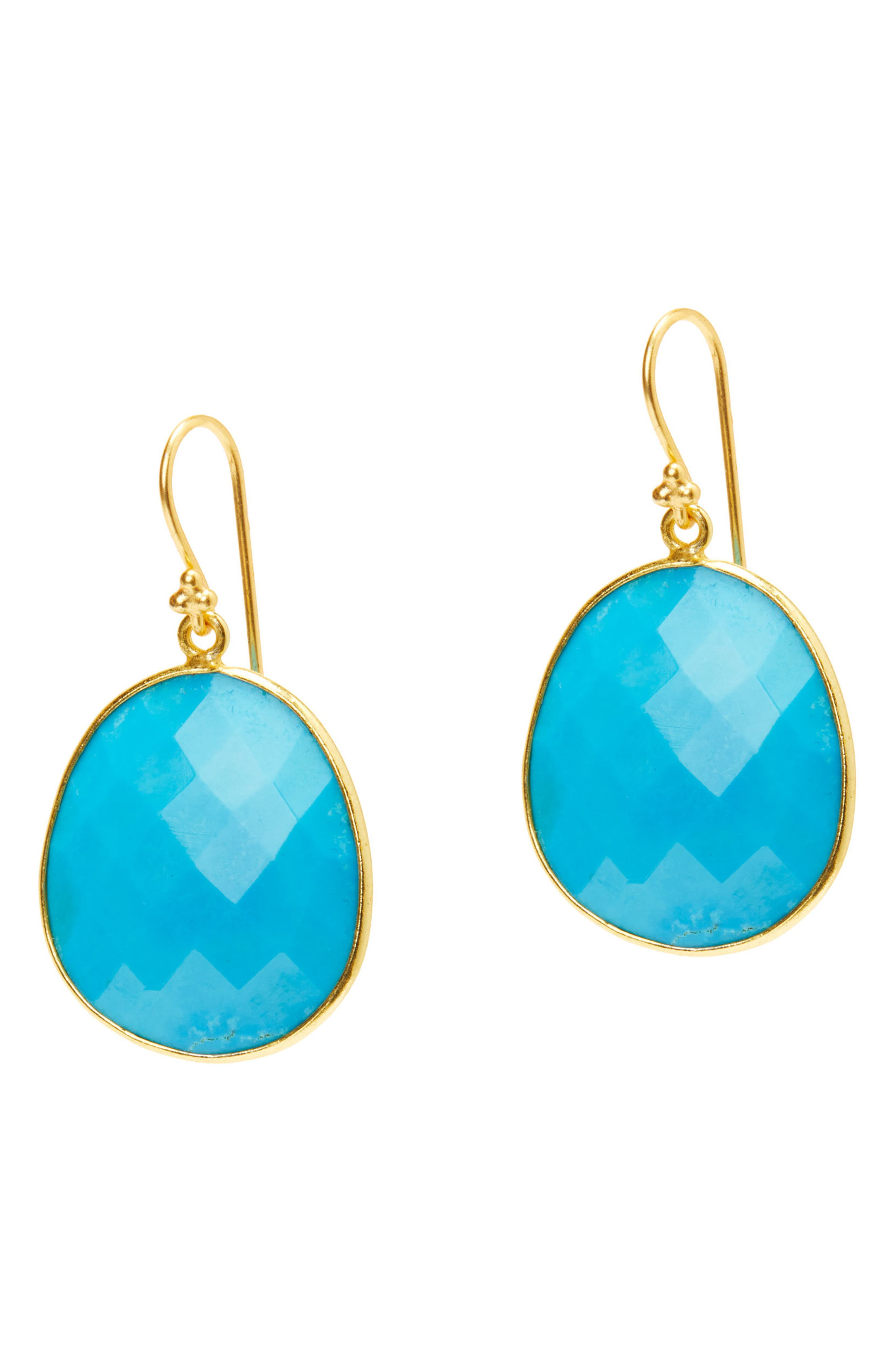 Mustique Semiprecious Stone Drop Earrings,                             Main thumbnail 1, color,                             Turquoise