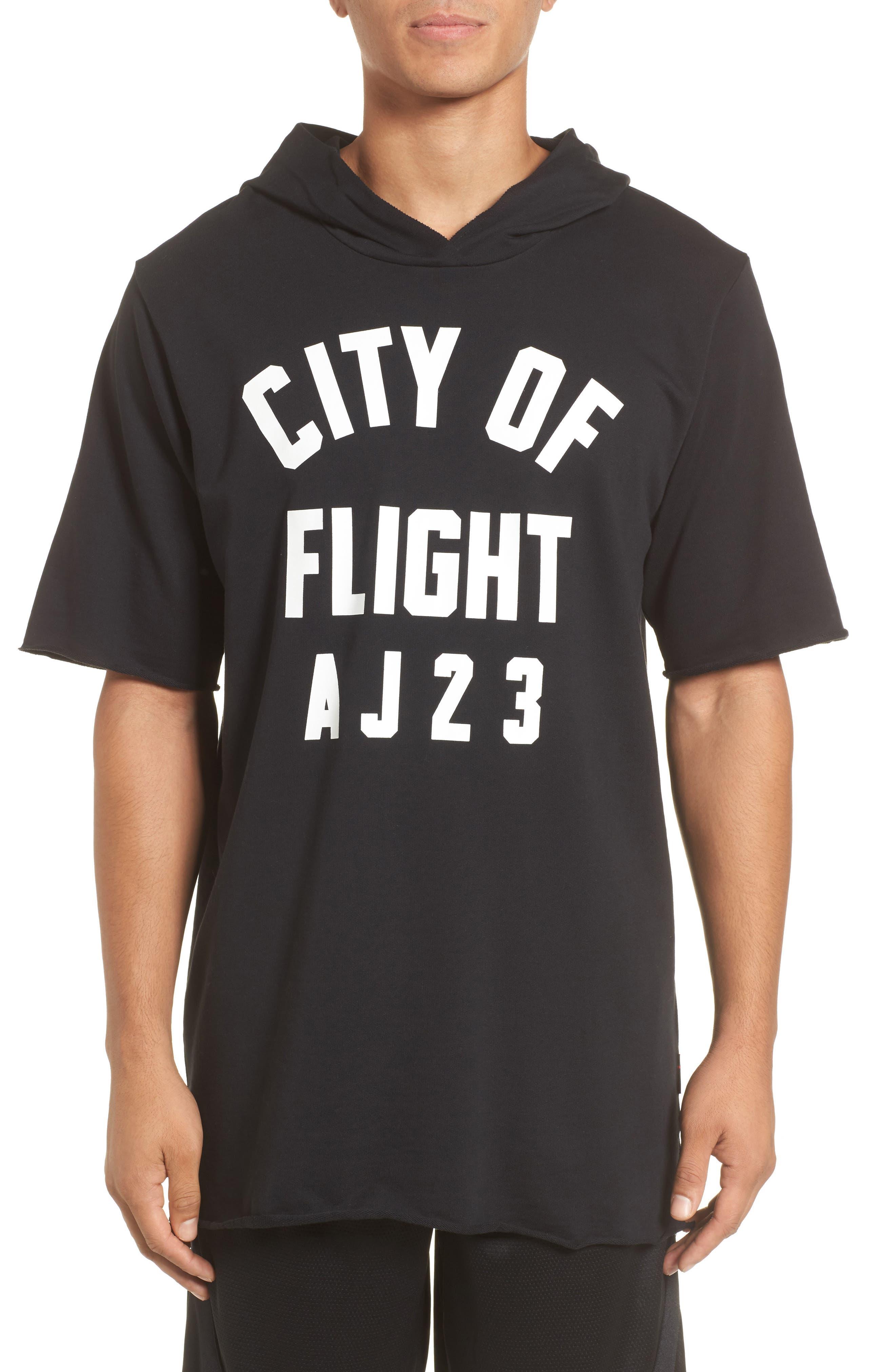 Sportswear City of Flight Hooded T-Shirt,                         Main,                         color, Black/ White