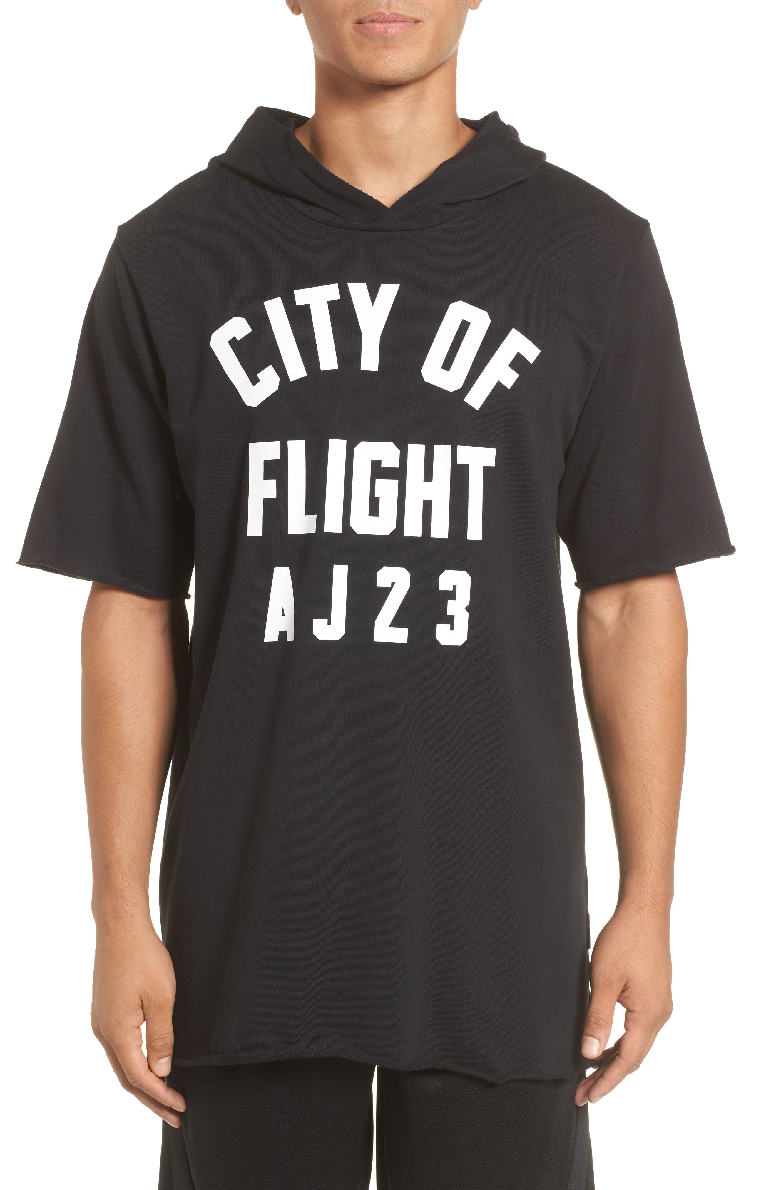Sportswear City of Flight Hooded T-Shirt,                         Main,                         color, Black/ White