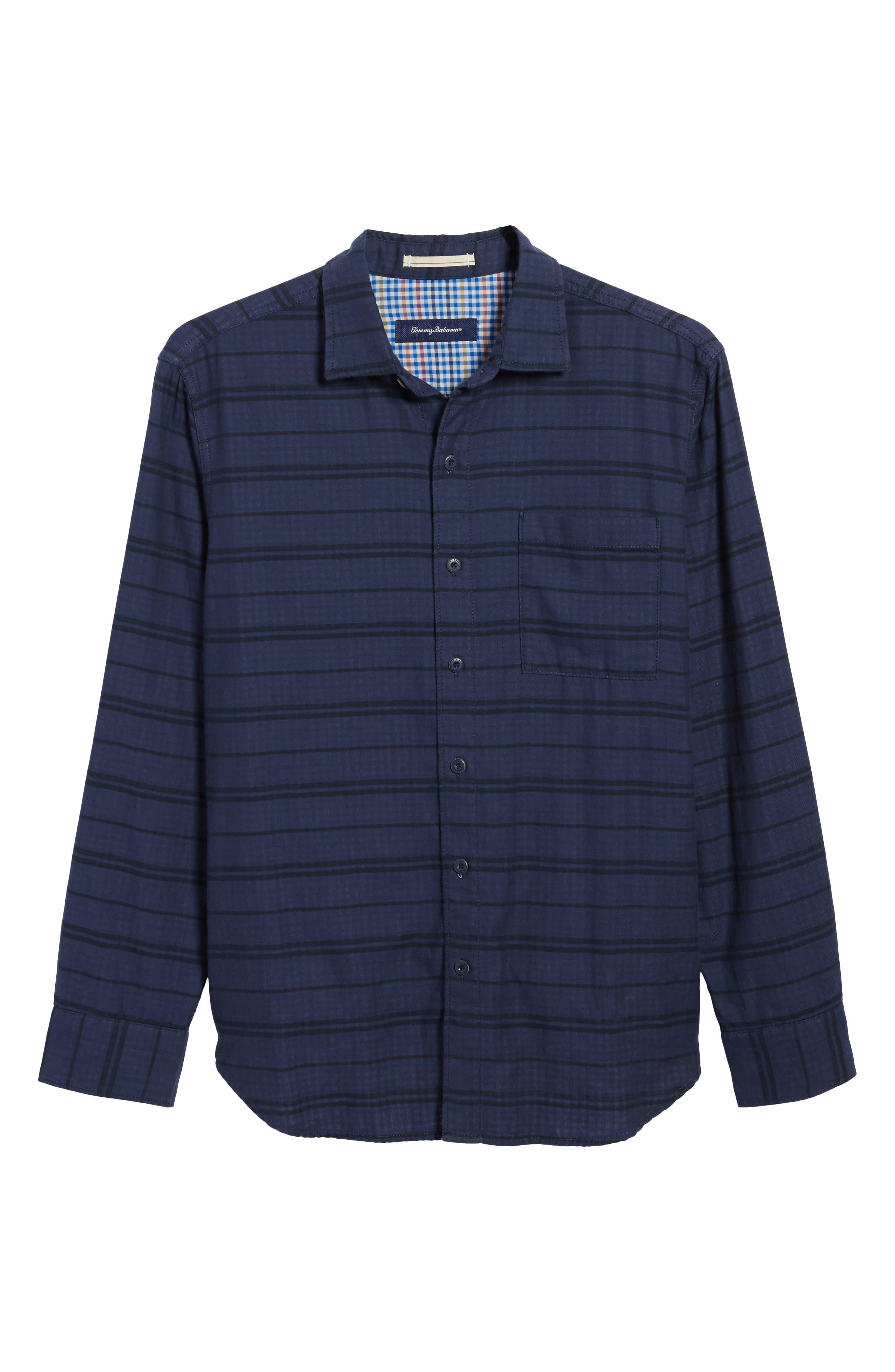 Tan Tan Stripe Standard Fit Sport Shirt,                             Alternate thumbnail 6, color,                             Deep Tahoe
