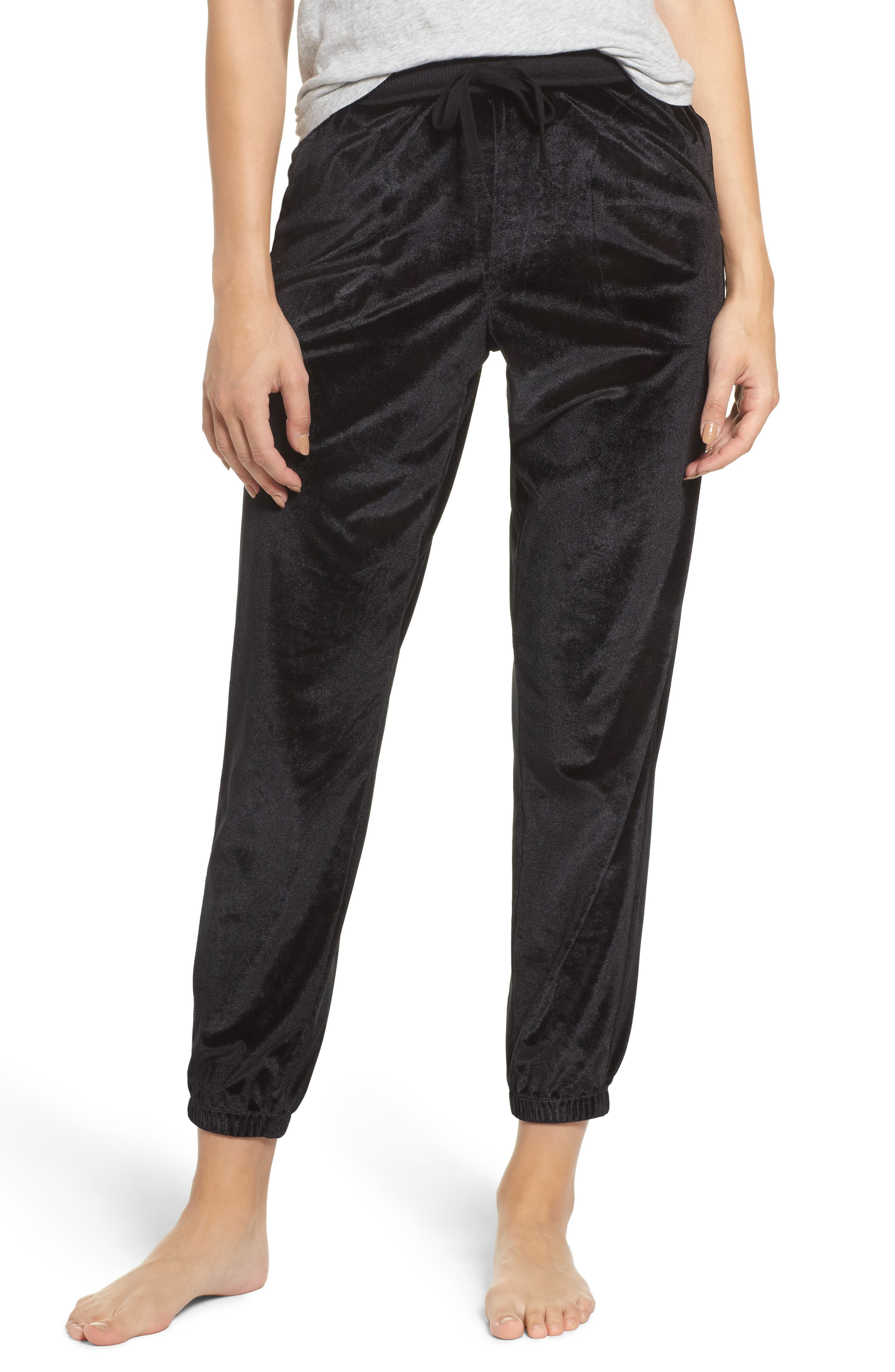 Velour Lounge Jogger Pants,                             Main thumbnail 1, color,                             Black