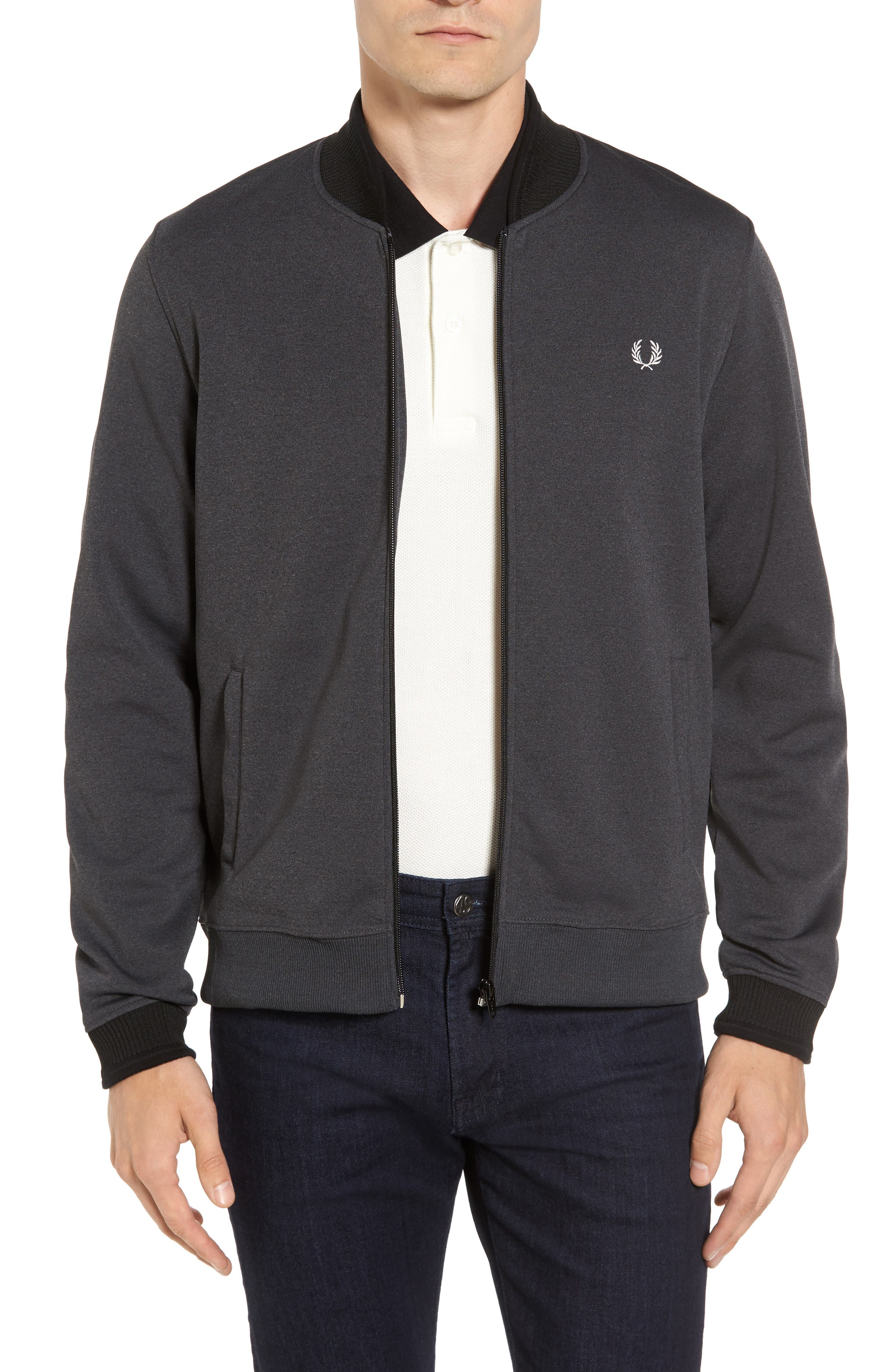 Bomber Jacket,                         Main,                         color, Charcoal Solid Marl