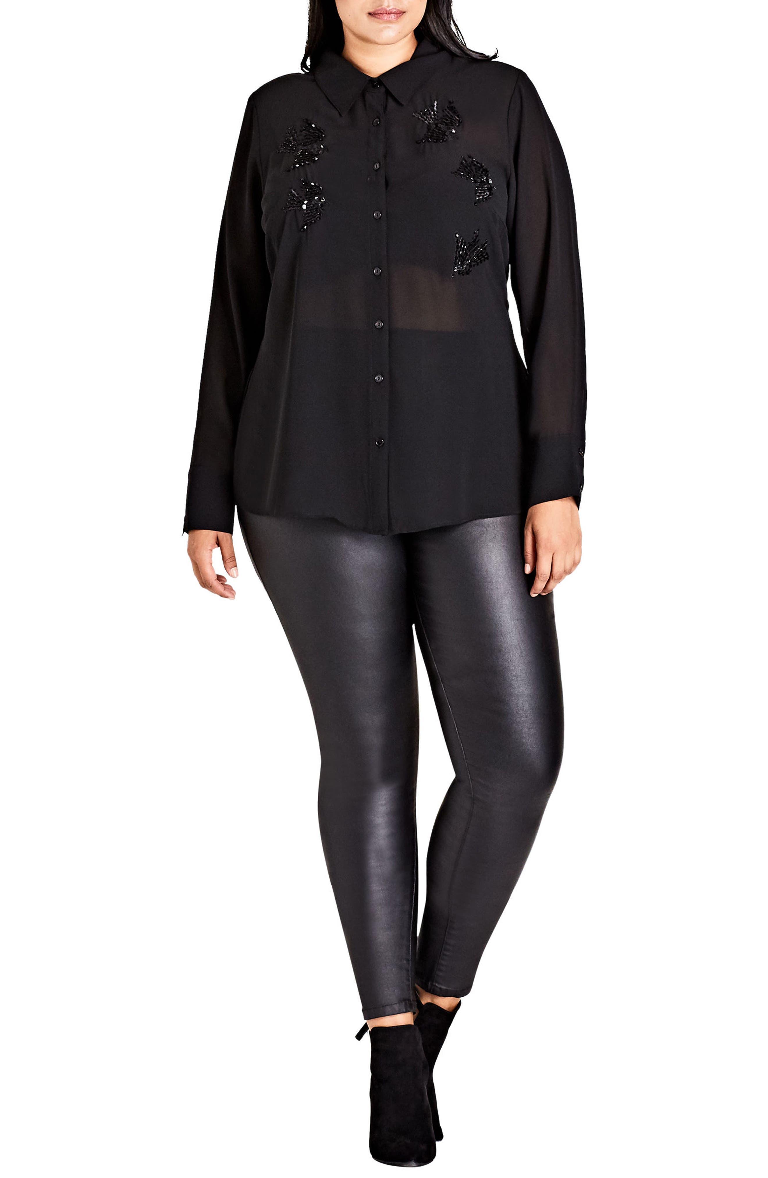 Fly Away Embellished Sheer Shirt,                         Main,                         color, Black
