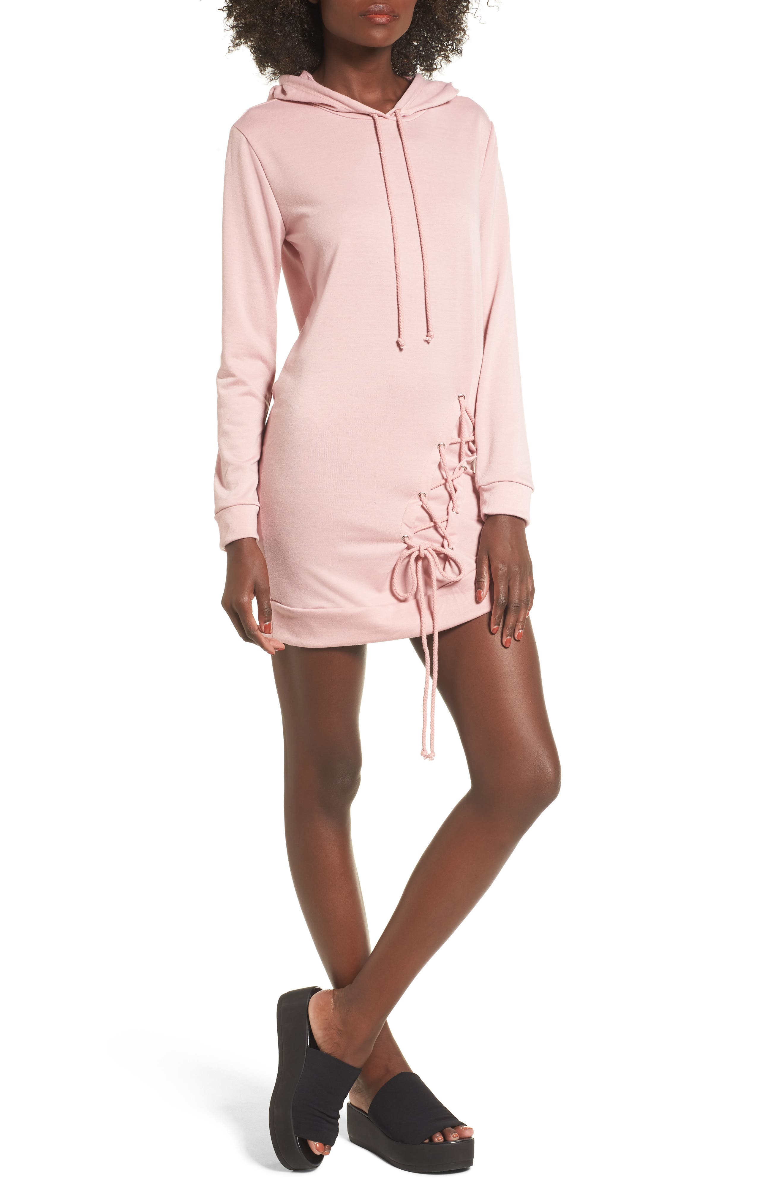 Dee Elly Lace Up Hoodie Dress