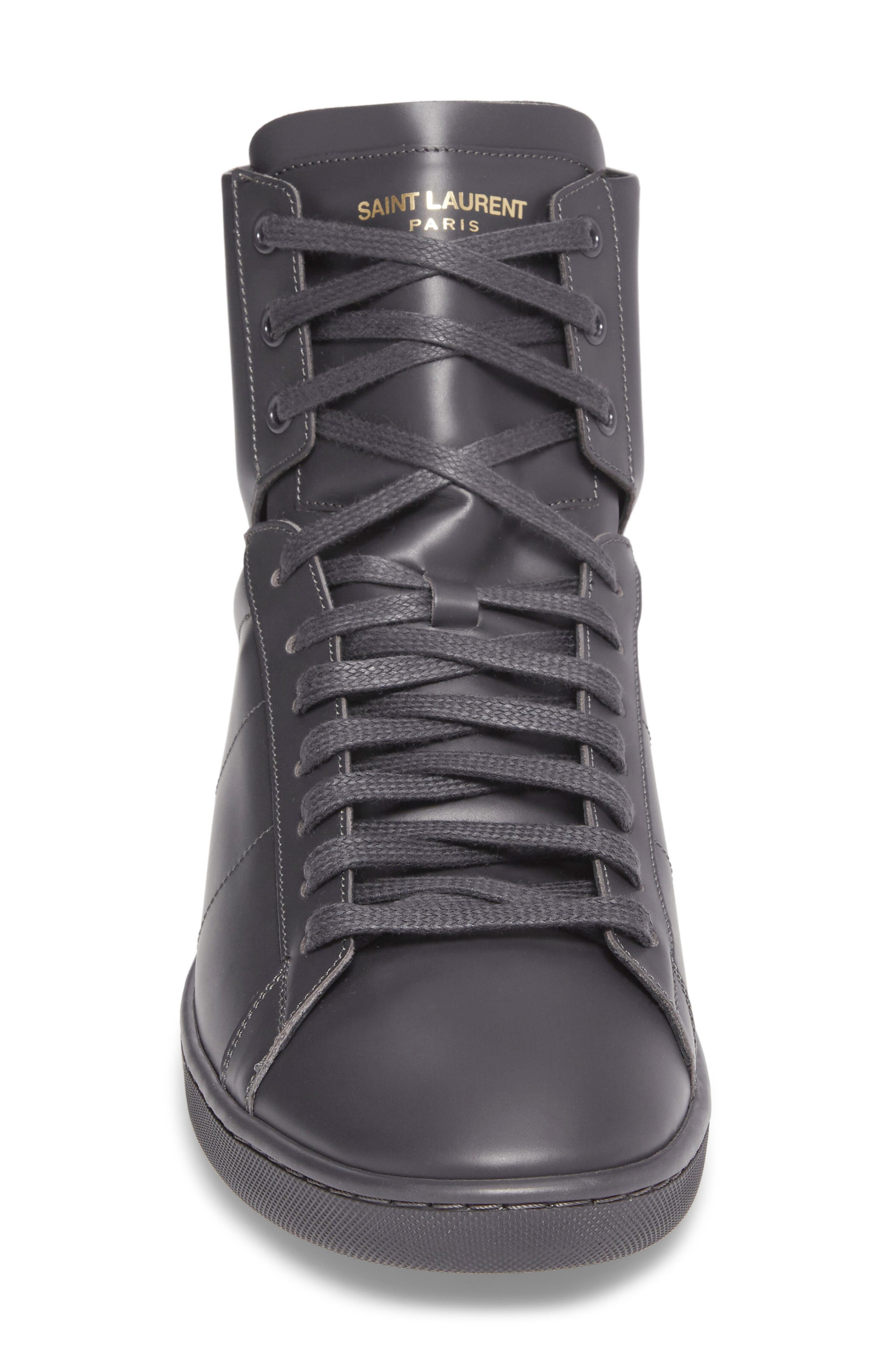 Signature Court Classic Sneaker,                             Alternate thumbnail 4, color,                             Grey Leather