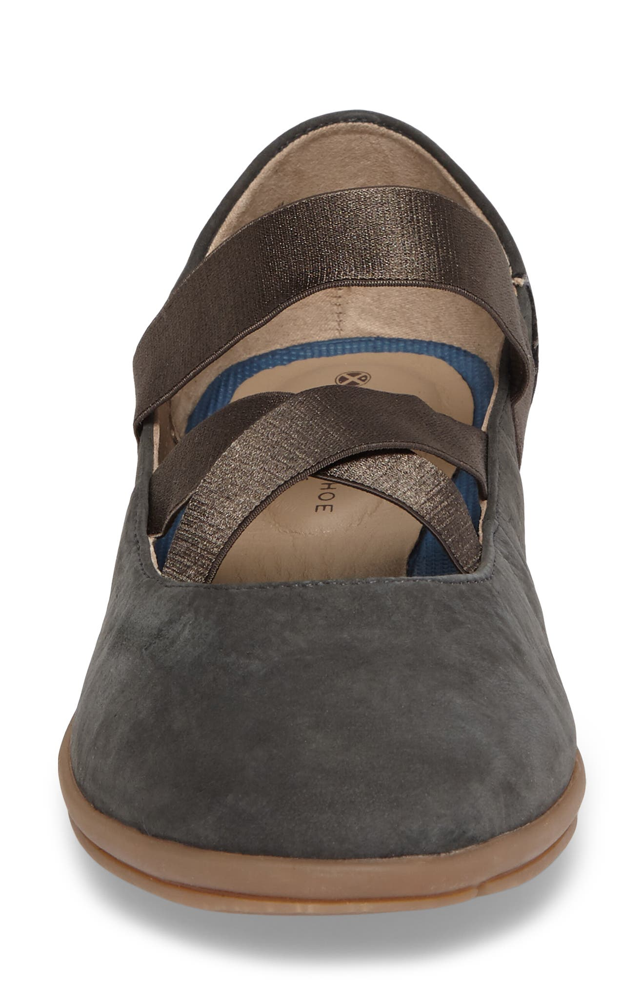 Meree Madrine Cross Strap Flat,                             Alternate thumbnail 5, color,                             Granite Grey Nubuck