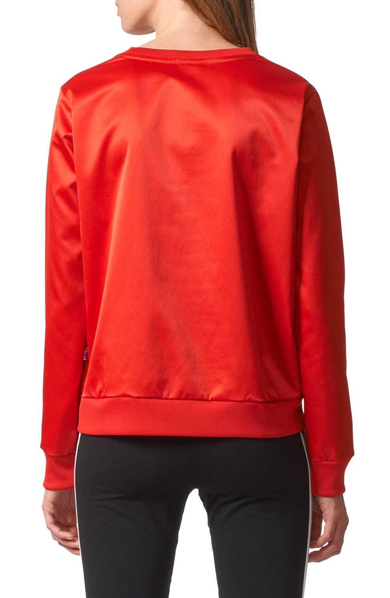 Trefoil Crewneck Sweater,                             Alternate thumbnail 2, color,                             Vivid Red S13