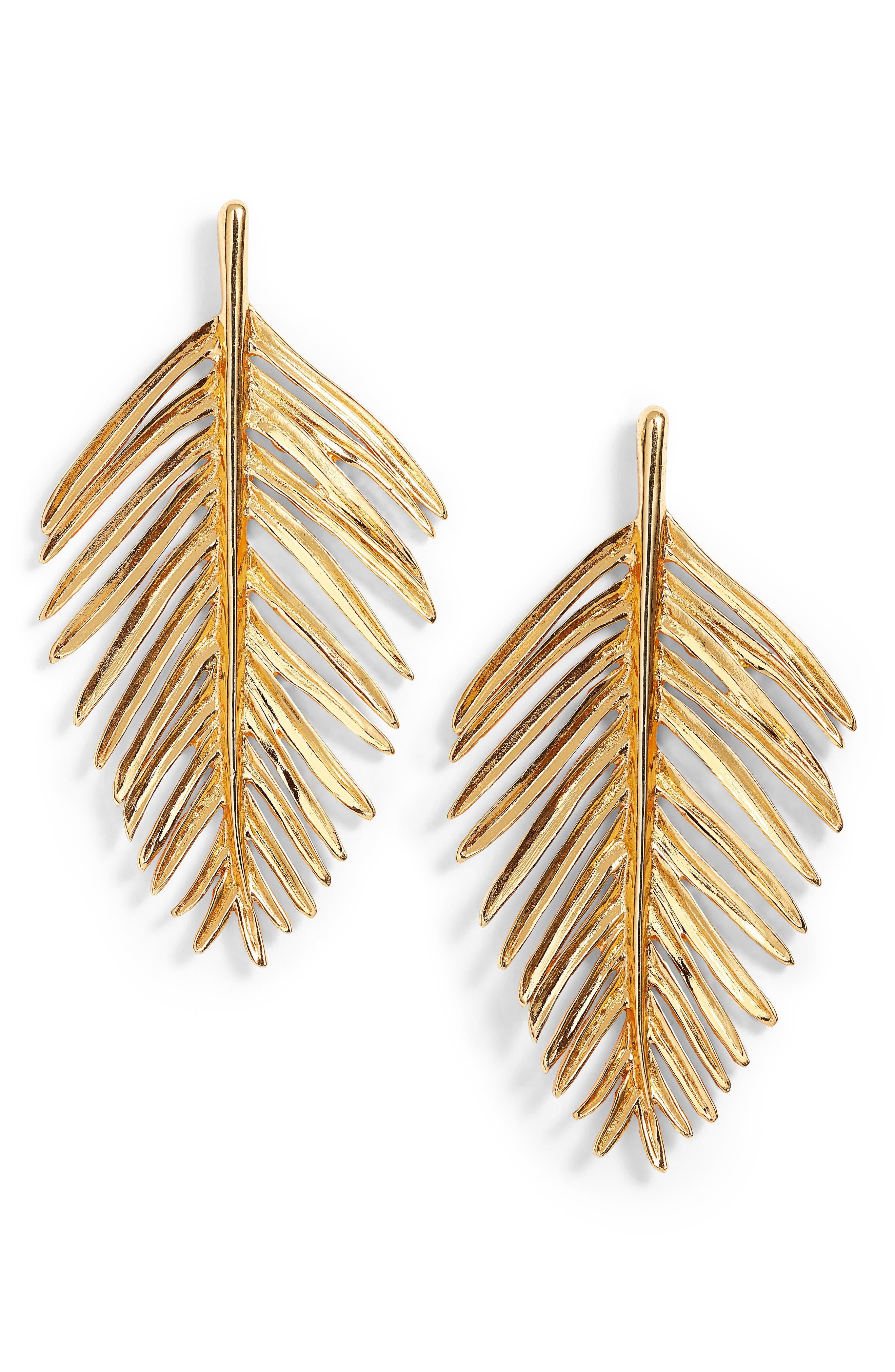 Leaf Drop Earrings,                         Main,                         color, Gold