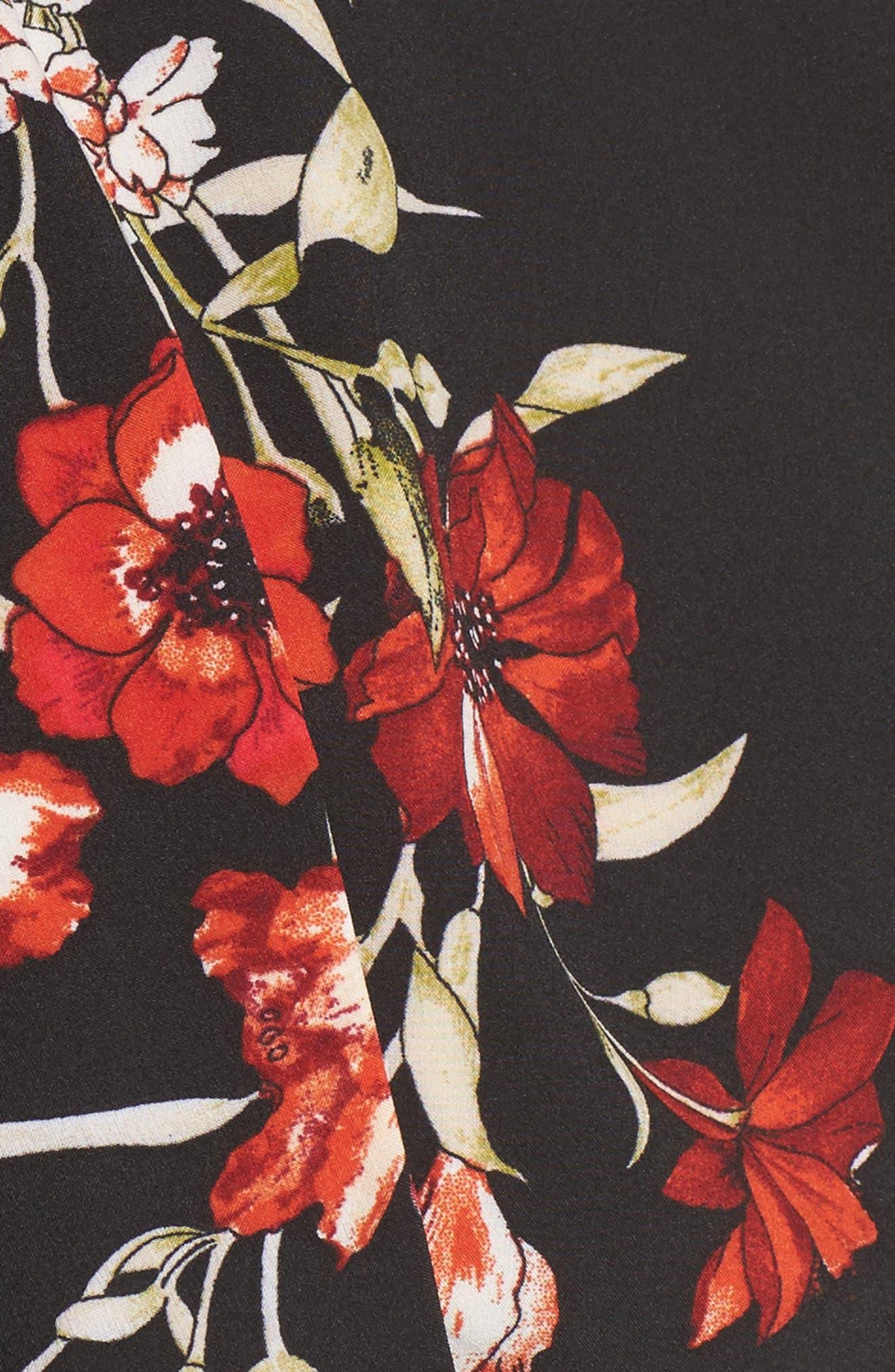 Maxi Skirt,                             Alternate thumbnail 5, color,                             Black Floral