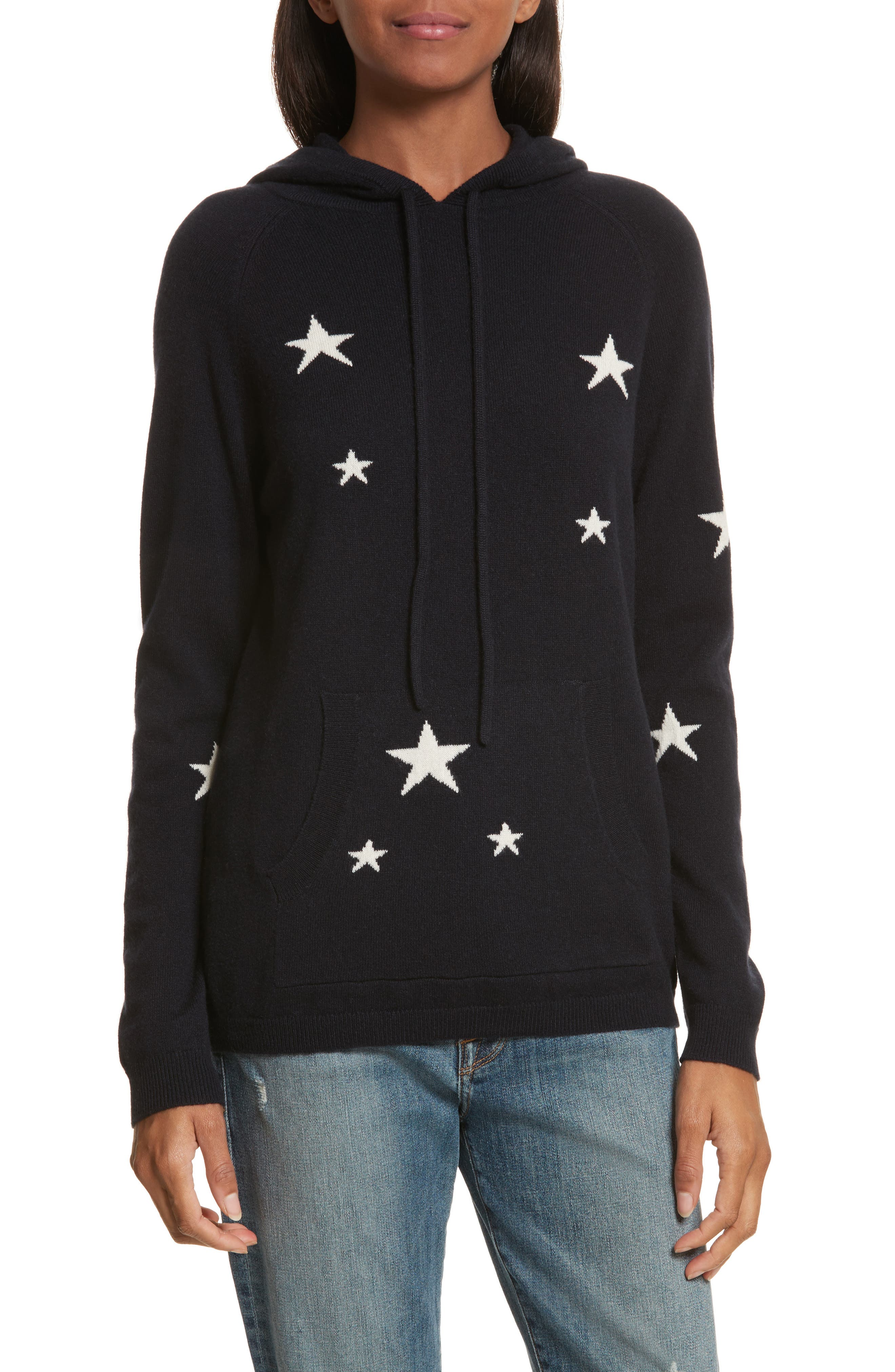 CHINTI & PARKER Star Cashmere Hoodie,                         Main,                         color, Navy/ Cream