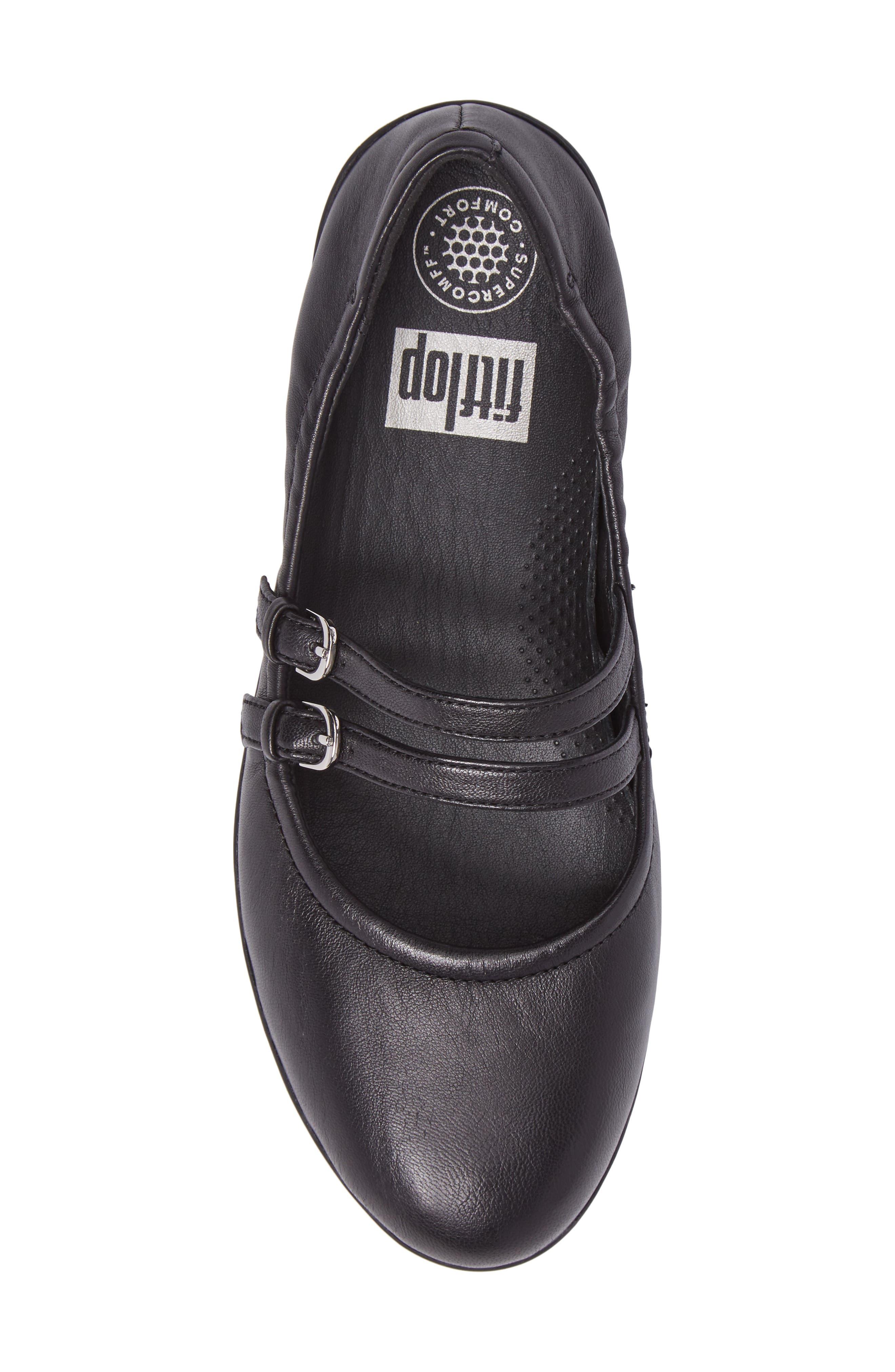 SuperBendy<sup>™</sup> Mary Jane Flat,                             Alternate thumbnail 5, color,                             Black Leather