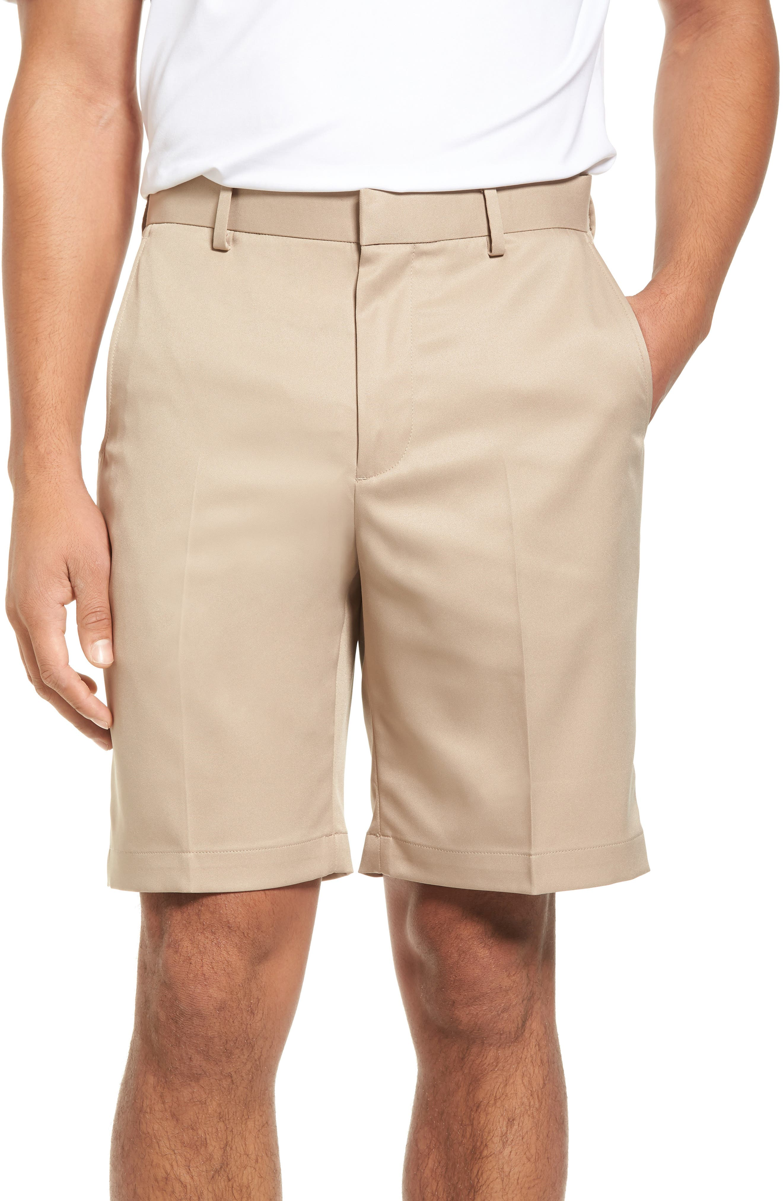 Flat Front Tech Shorts,                         Main,                         color, Khaki