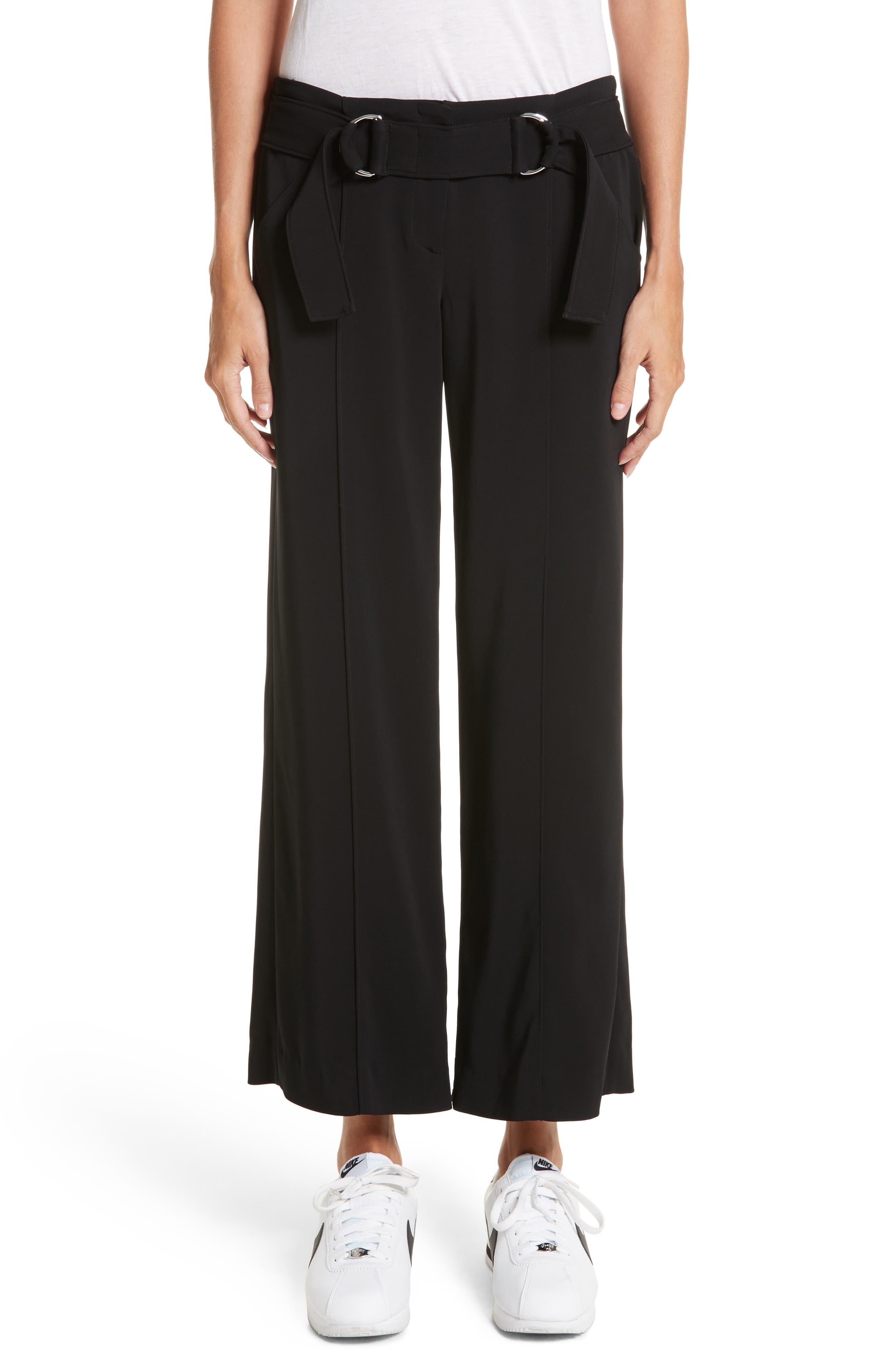 Heri Wide Leg Crepe Pants,                             Main thumbnail 1, color,                             Black