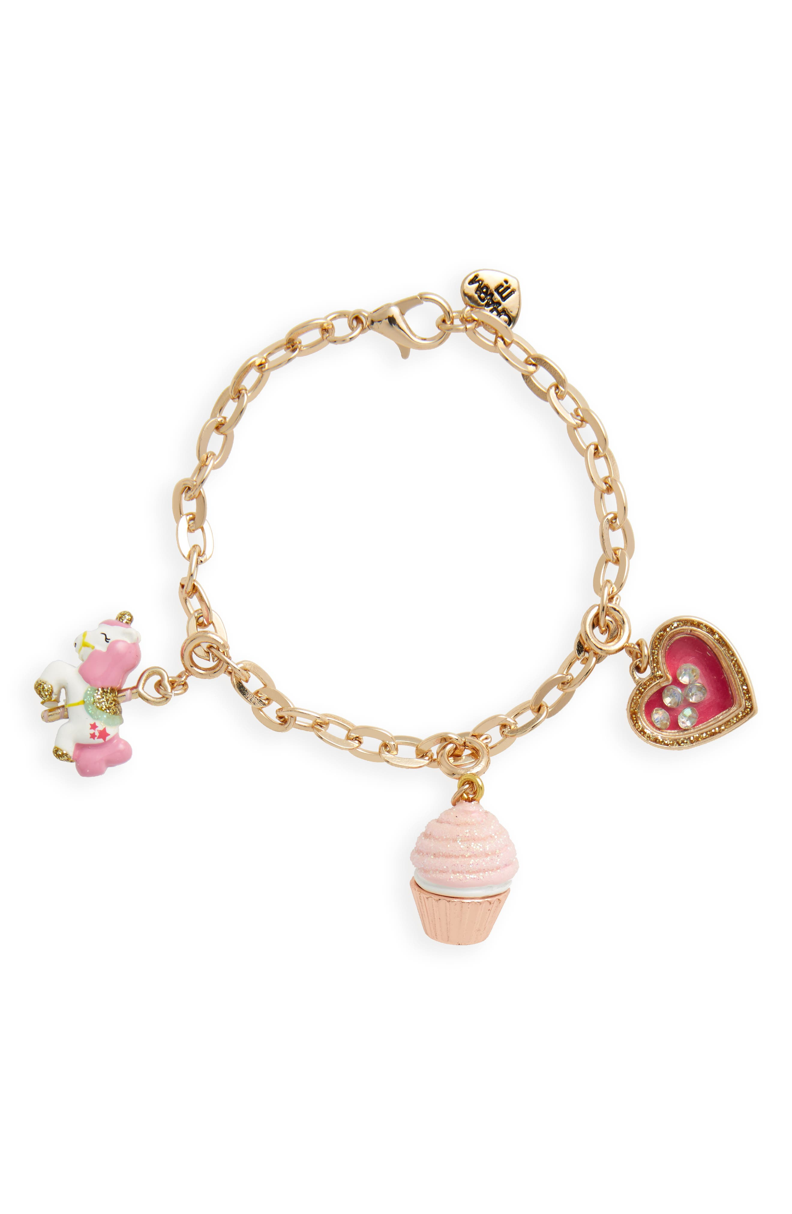 Sweet Magical Charm Bracelet Set,                         Main,                         color, Gold/ Pink/ White