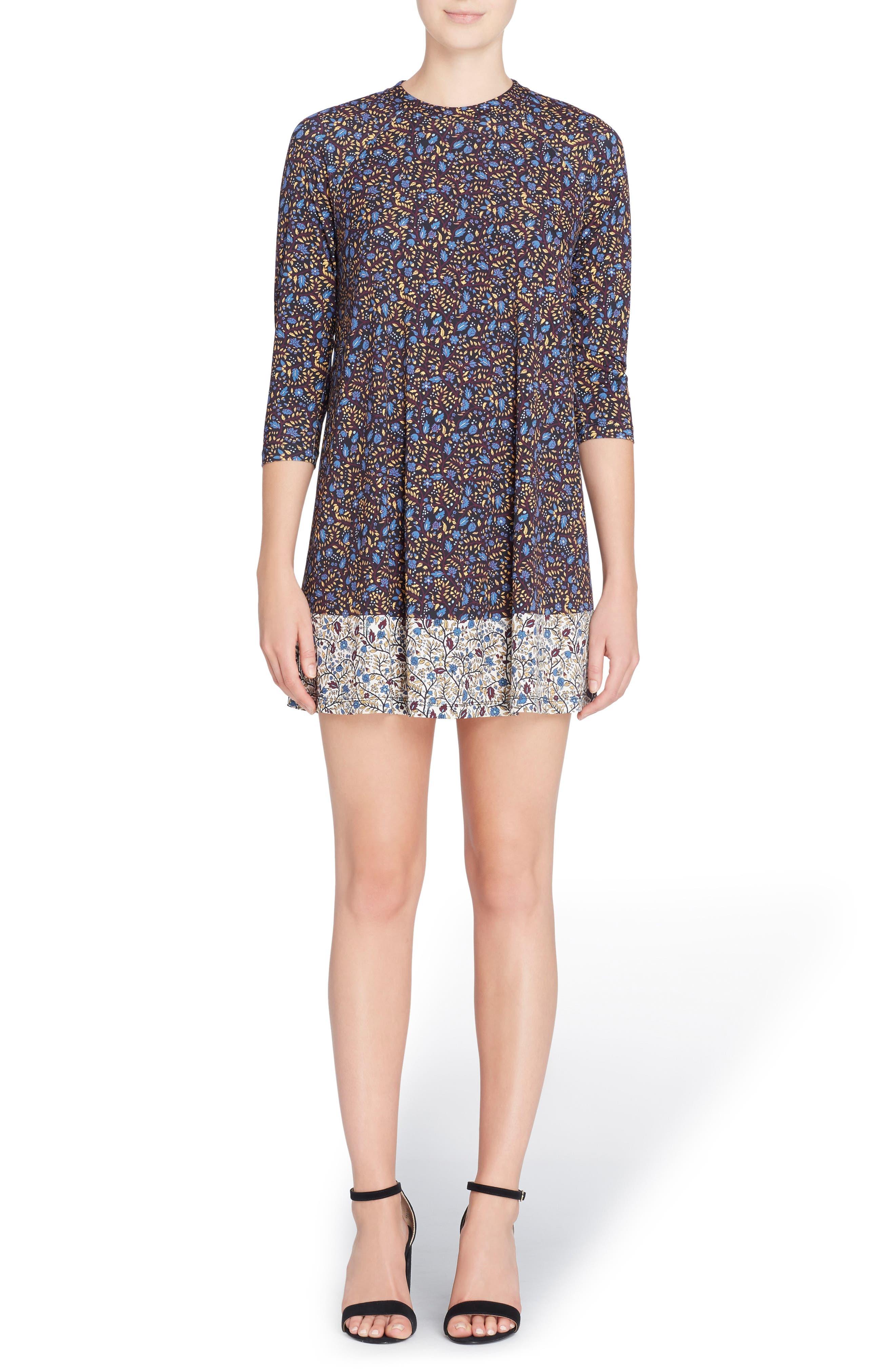 'Hayden' Mixed Print Minidress,                         Main,                         color, Ditzy Wallpaper Combo