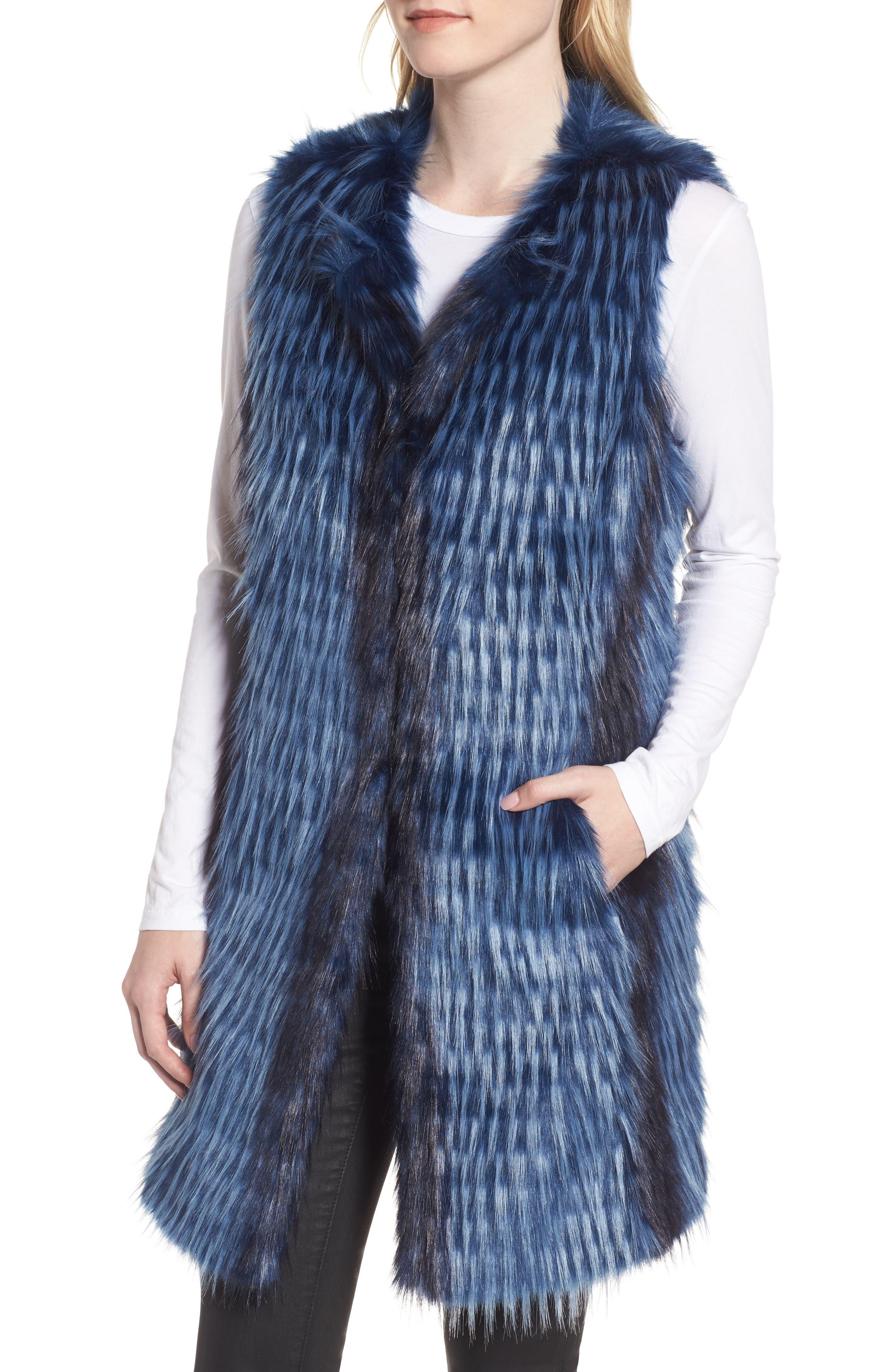 Dion Faux Fur Vest,                             Alternate thumbnail 4, color,                             Blue