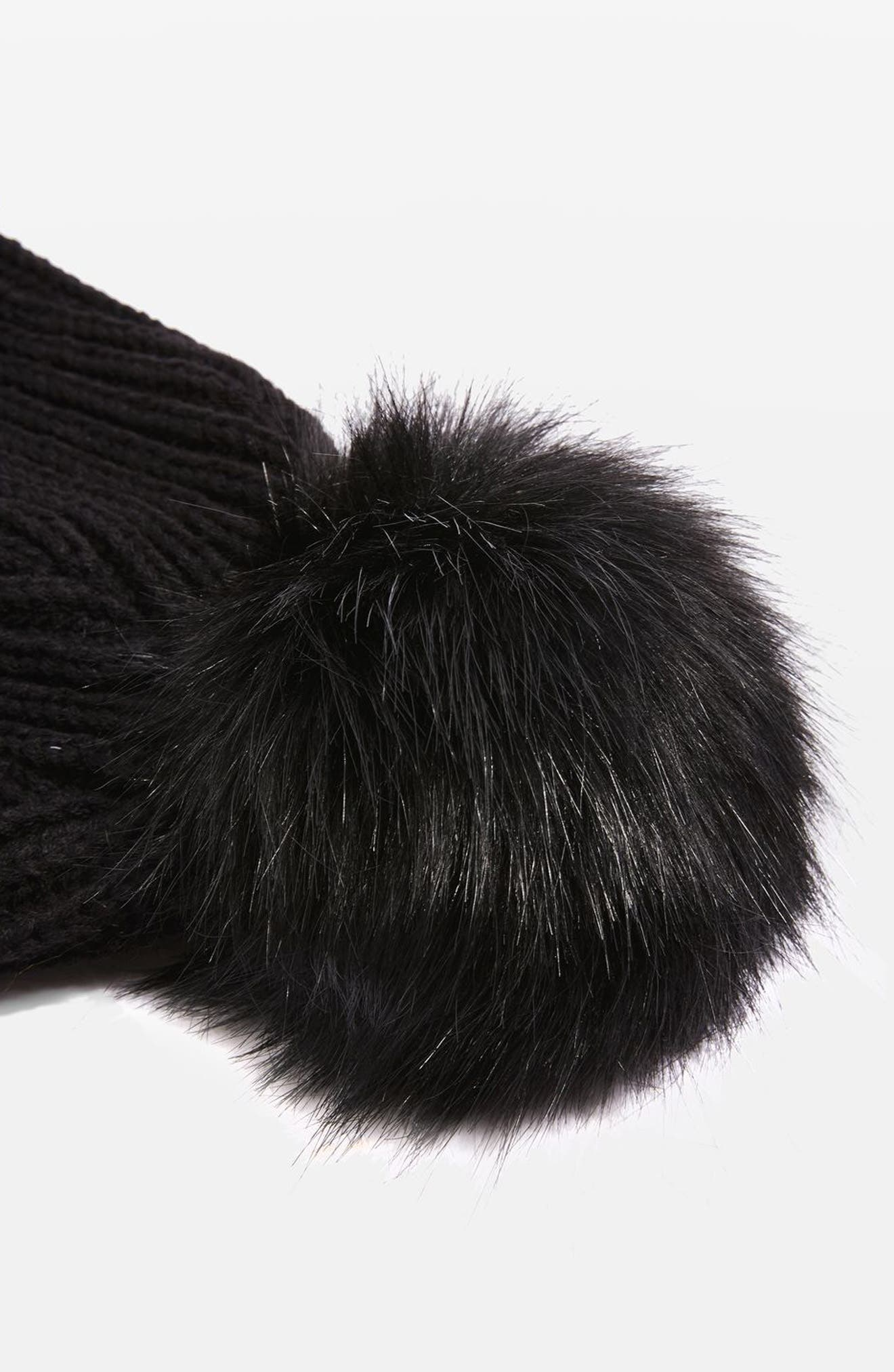 Faux Fur Pompom Beanie,                             Alternate thumbnail 2, color,                             Black