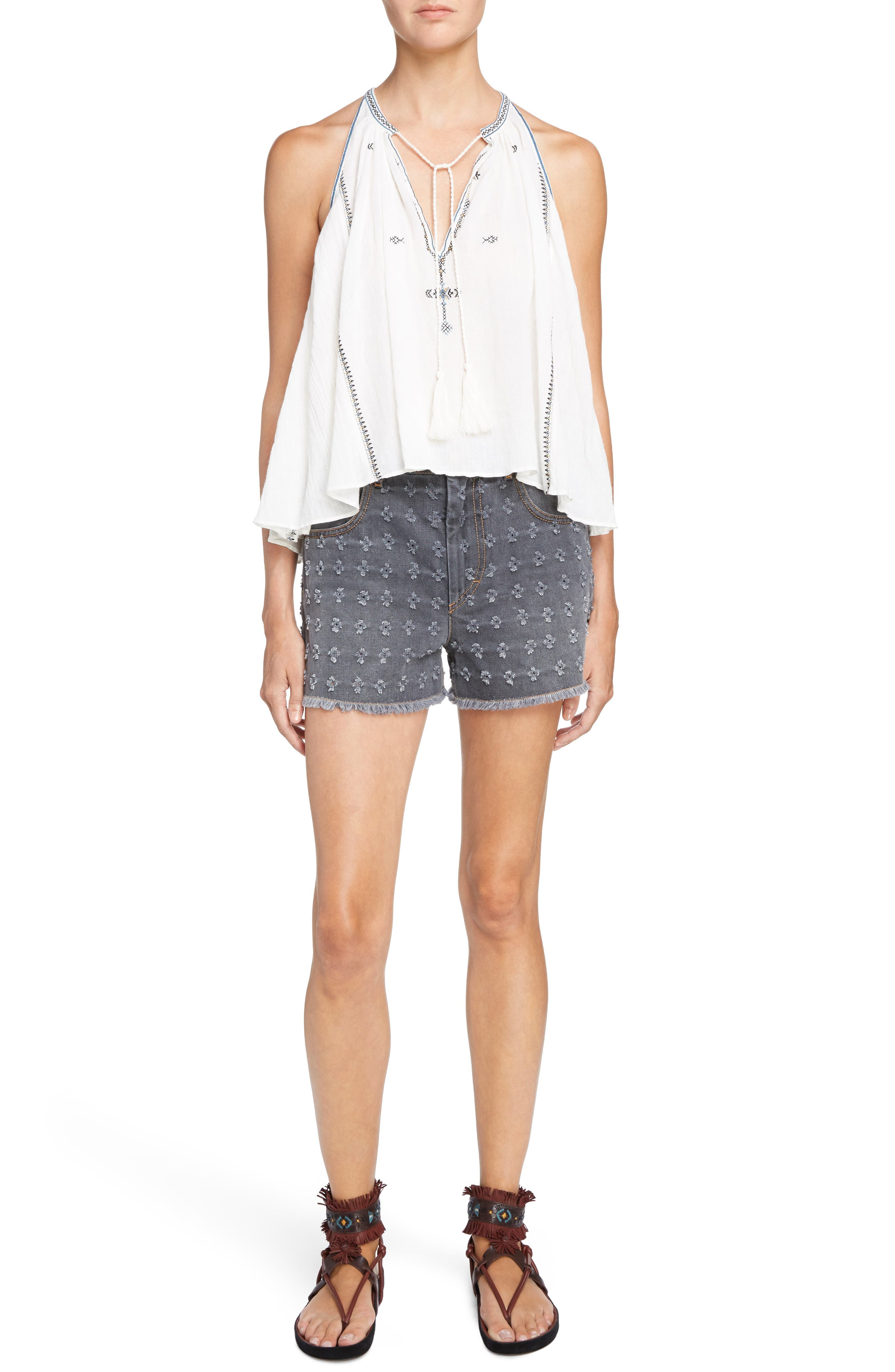 Isabel Marant Étoile Ripped Denim Shorts,                             Alternate thumbnail 3, color,                             Grey