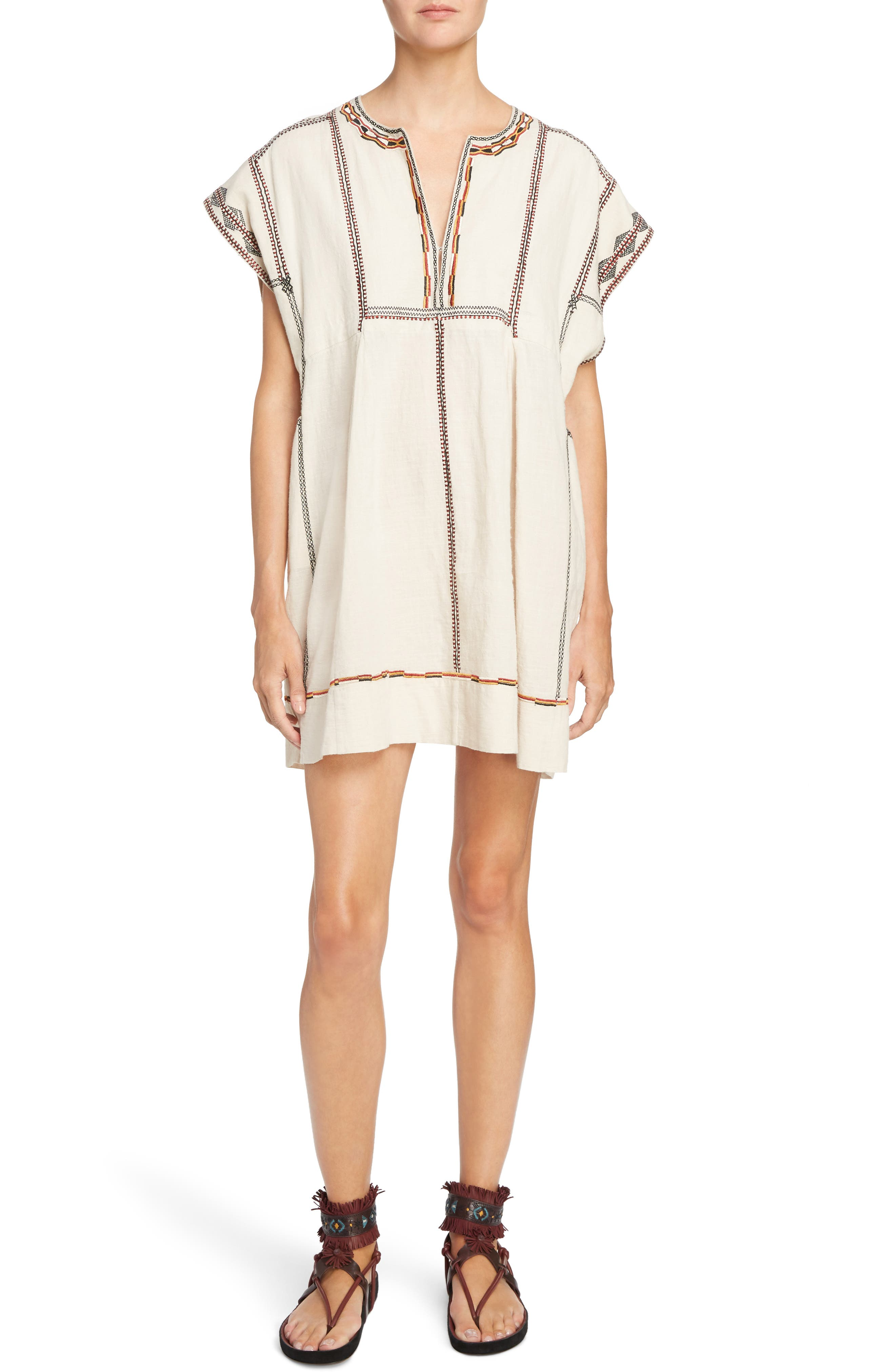 Isabel Marant Étoile Belissa Embroidered Shift Dress,                         Main,                         color, Beige
