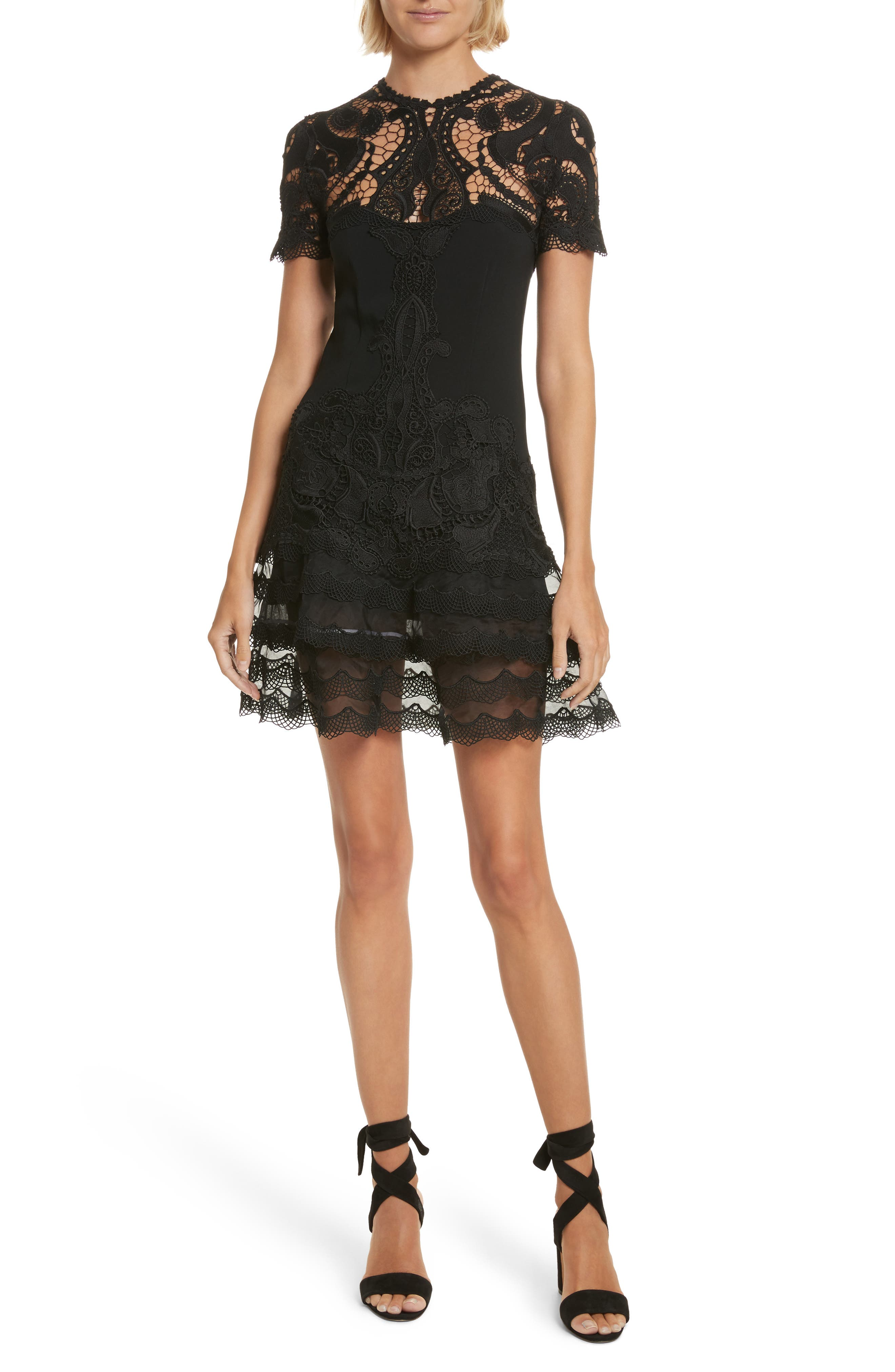 Lace Appliqué Crepe Mini Tee Dress,                             Main thumbnail 1, color,                             Black