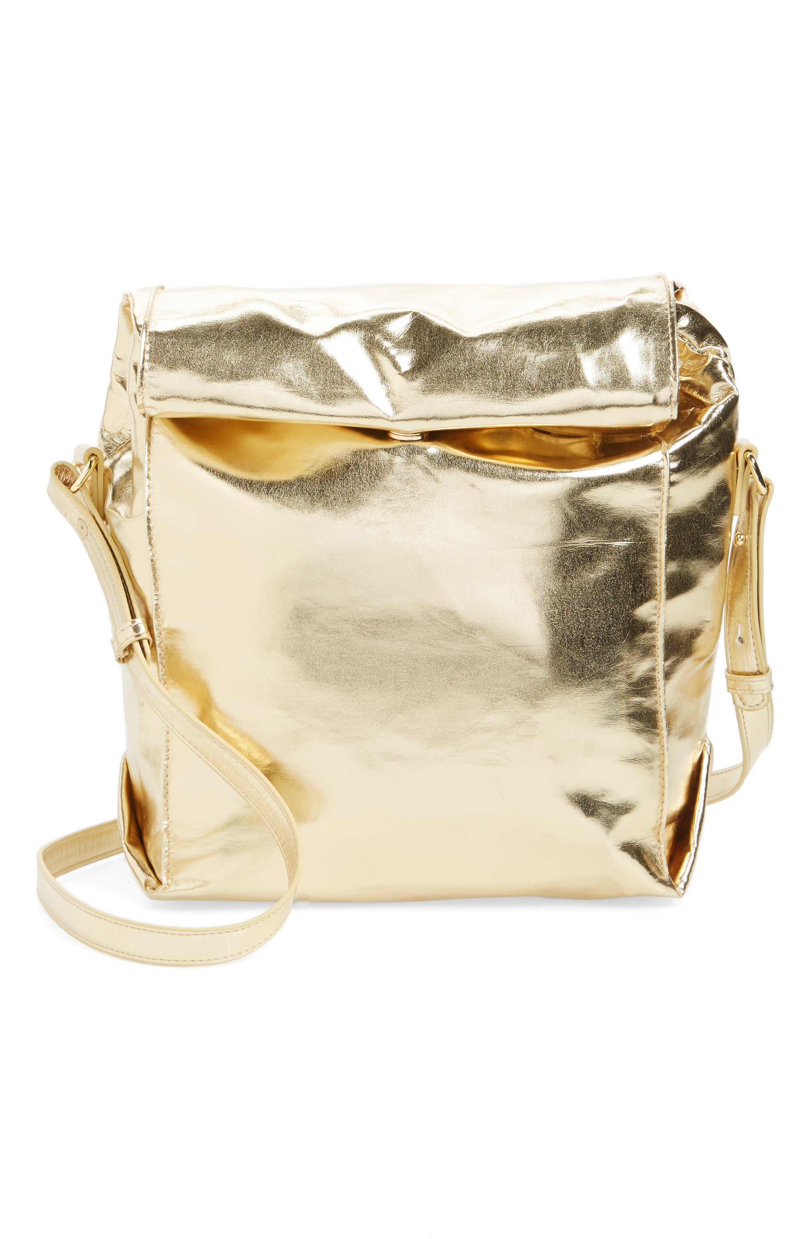Crossbody Lunch Bag,                             Main thumbnail 1, color,                             Metallic Gold