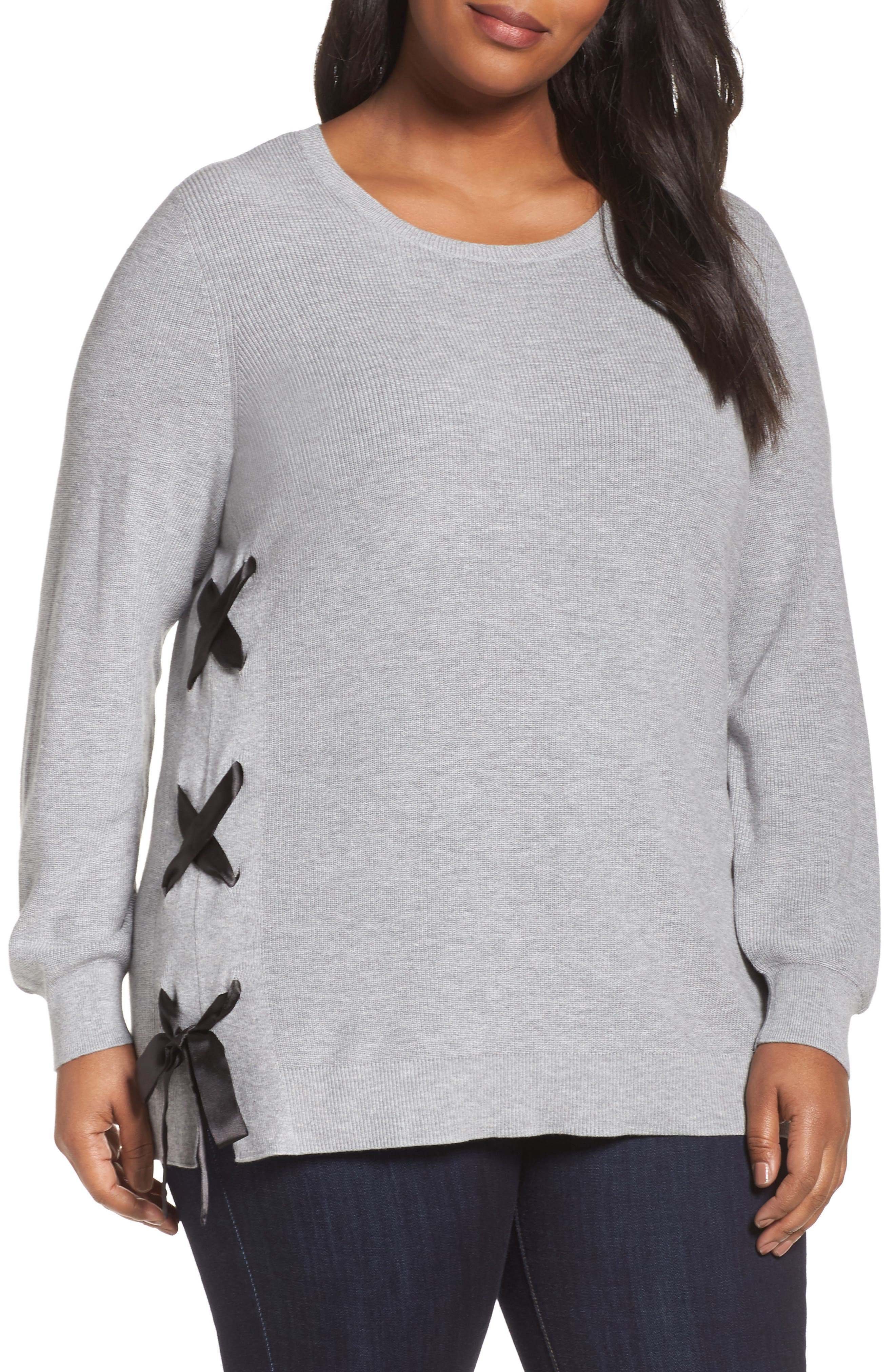 Lace-Up Pullover,                         Main,                         color, Grey- Black Combo