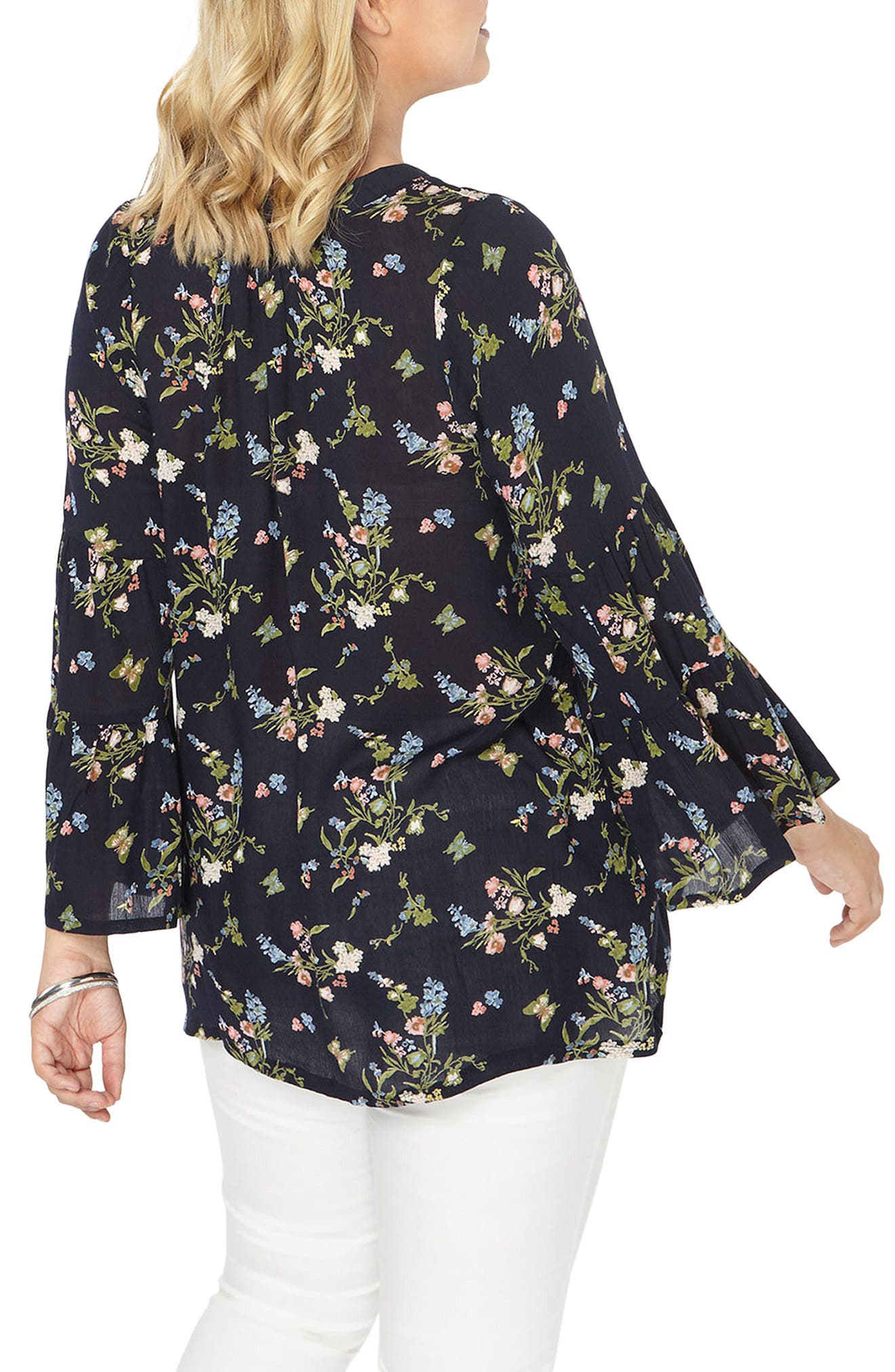 Bell Sleeve Top,                             Alternate thumbnail 2, color,                             Navy