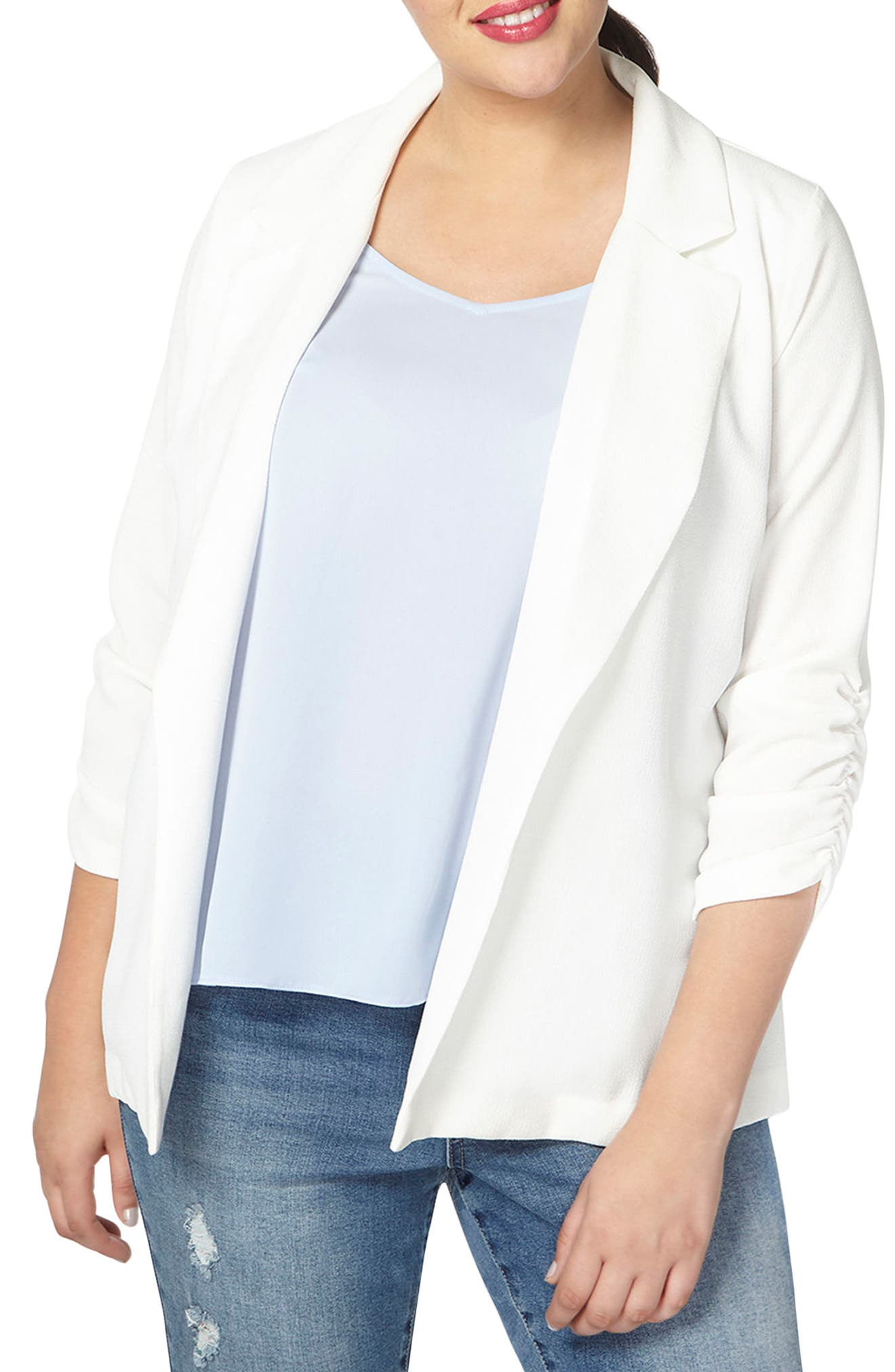 Alternate Image 1 Selected - Evans Crepe Blazer (Plus Size)